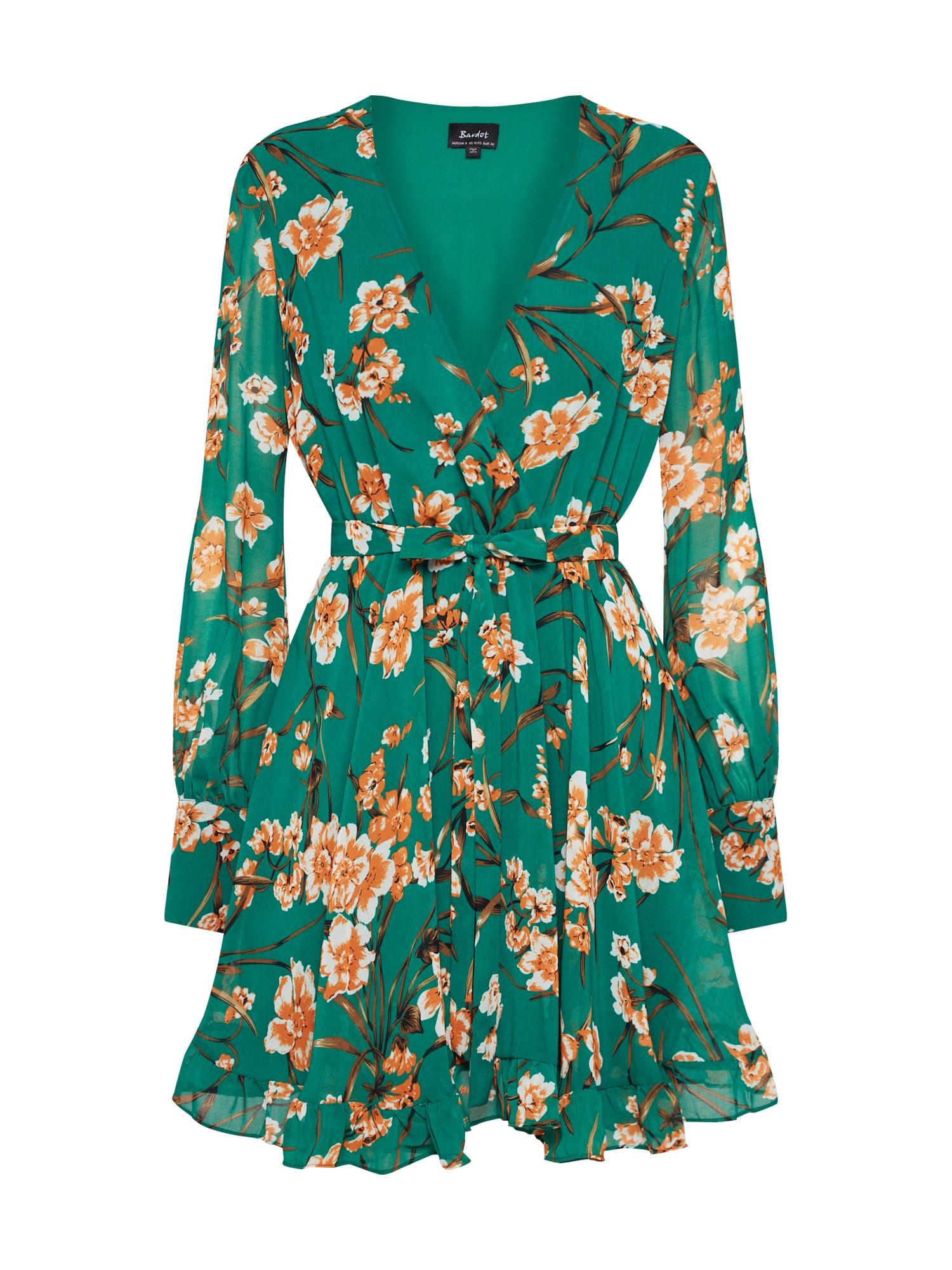 Letní šaty BECKY zelená korálová Bardot