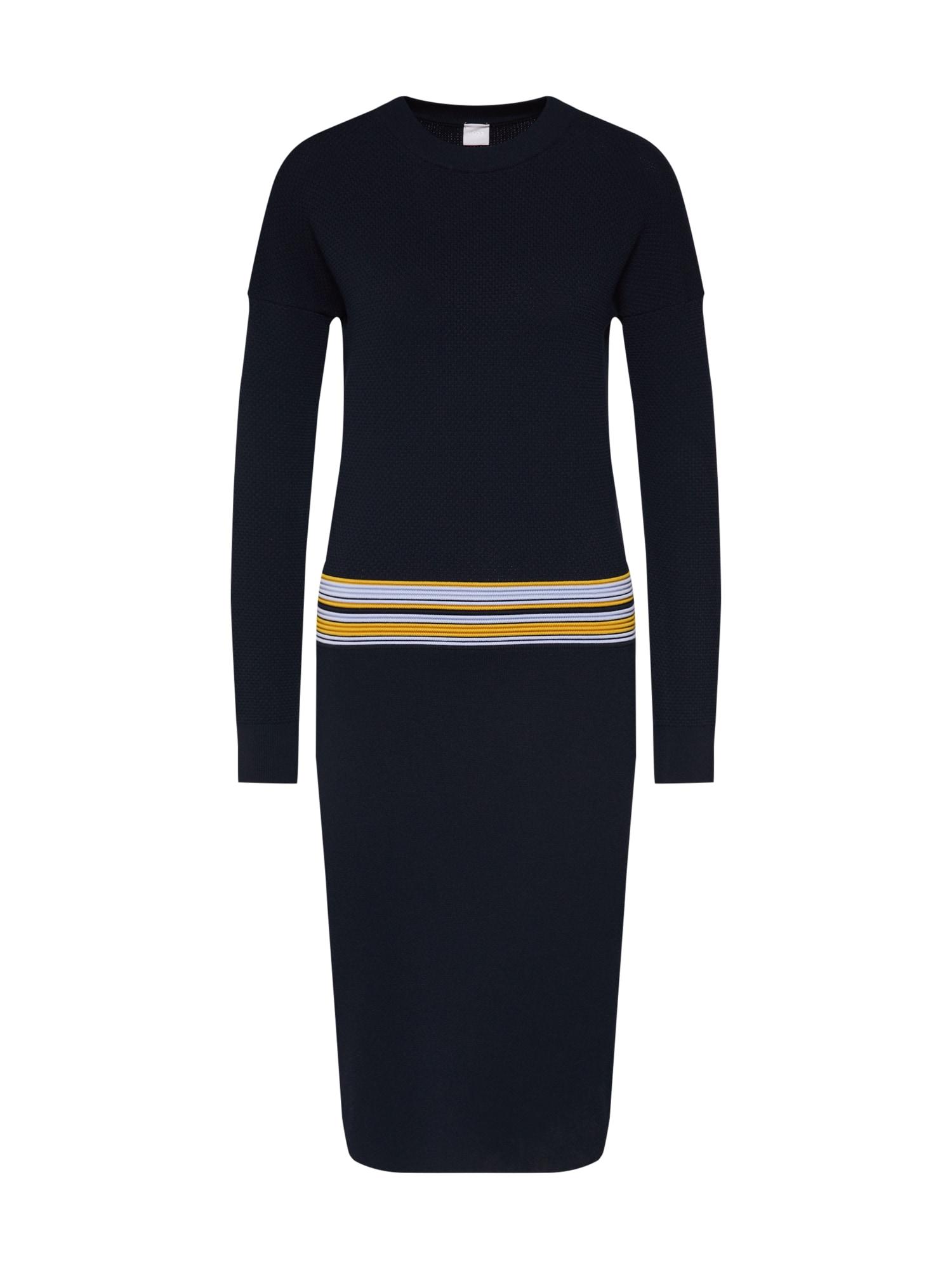 Úpletové šaty Iwearit námořnická modř světlemodrá žlutá BOSS