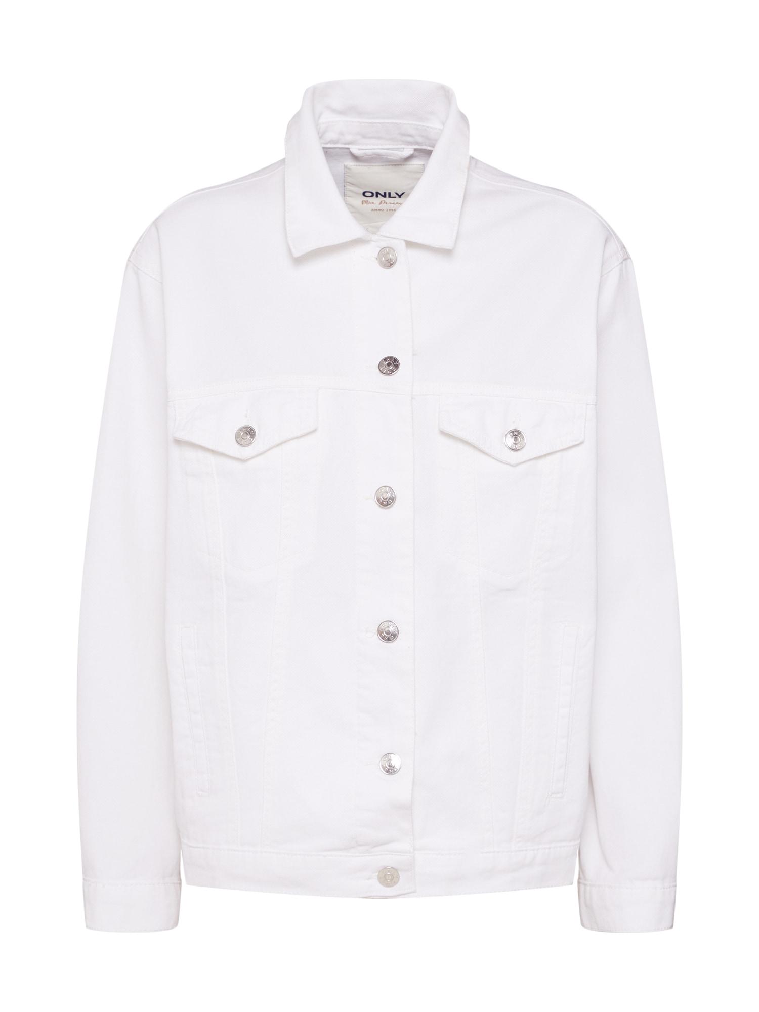 Přechodná bunda onlCAROLINE bílá džínovina ONLY