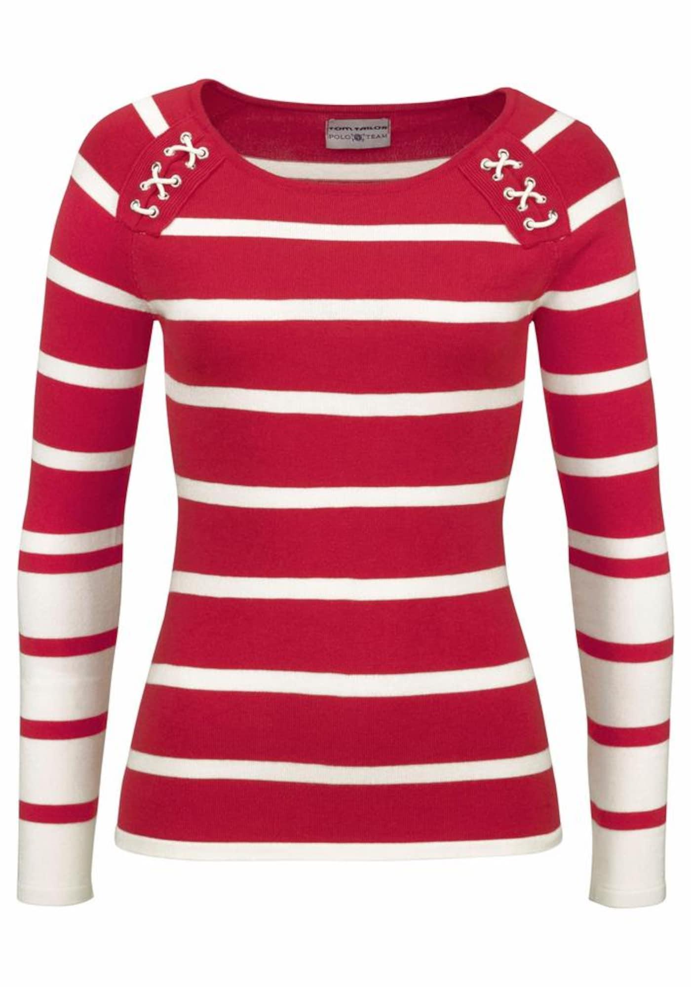 Streifenpullover   Bekleidung > Pullover > Streifenpullover   Rot - Weiß   Tom Tailor Polo Team