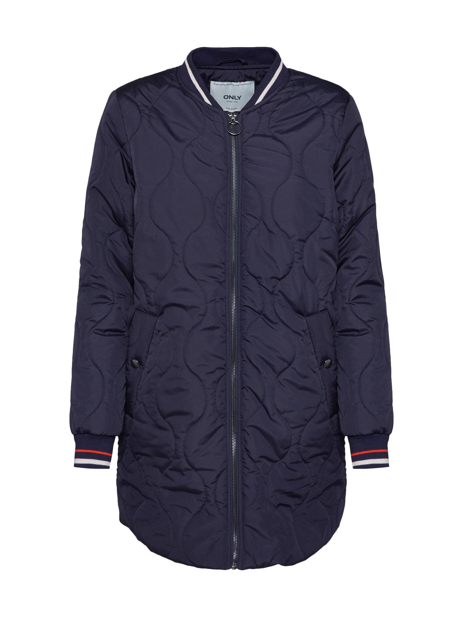 Přechodný kabát Dorah noční modrá červená bílá ONLY