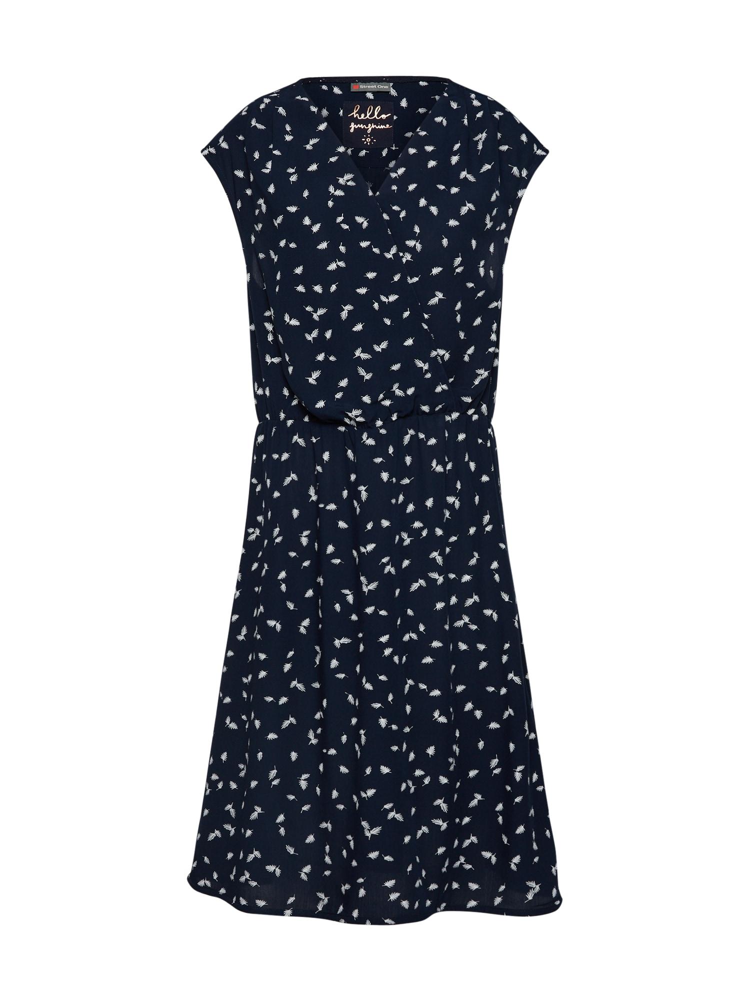 Letní šaty Print V-neck námořnická modř bílá STREET ONE