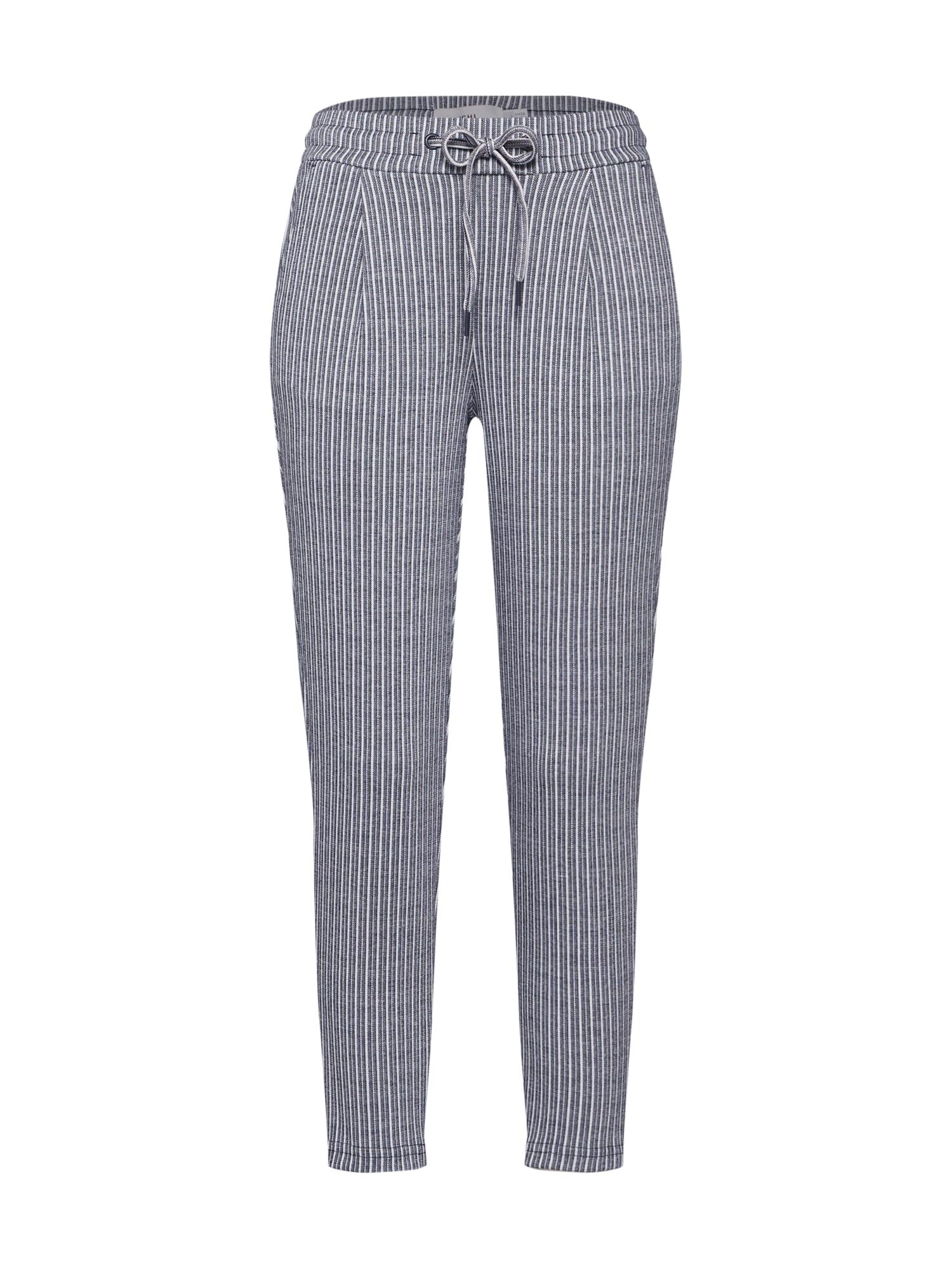 Kalhoty se sklady v pase KATE STRIPY PA modrá bílá ICHI