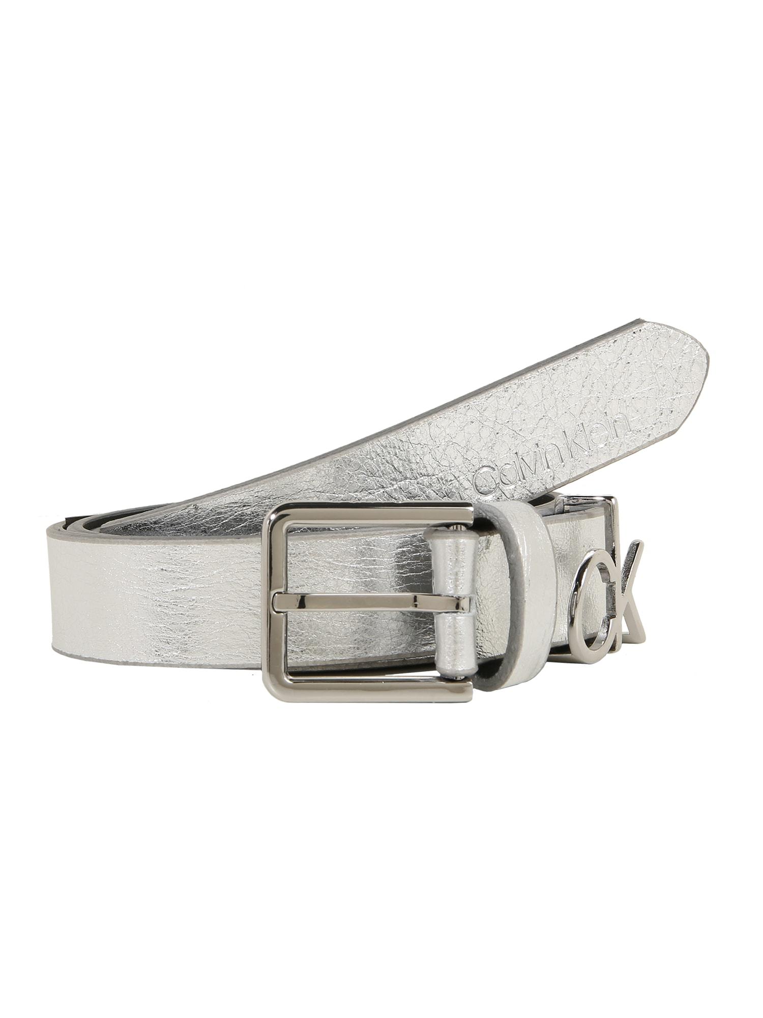 Opasek 2.5CM CK SLIDER BELT stříbrná Calvin Klein