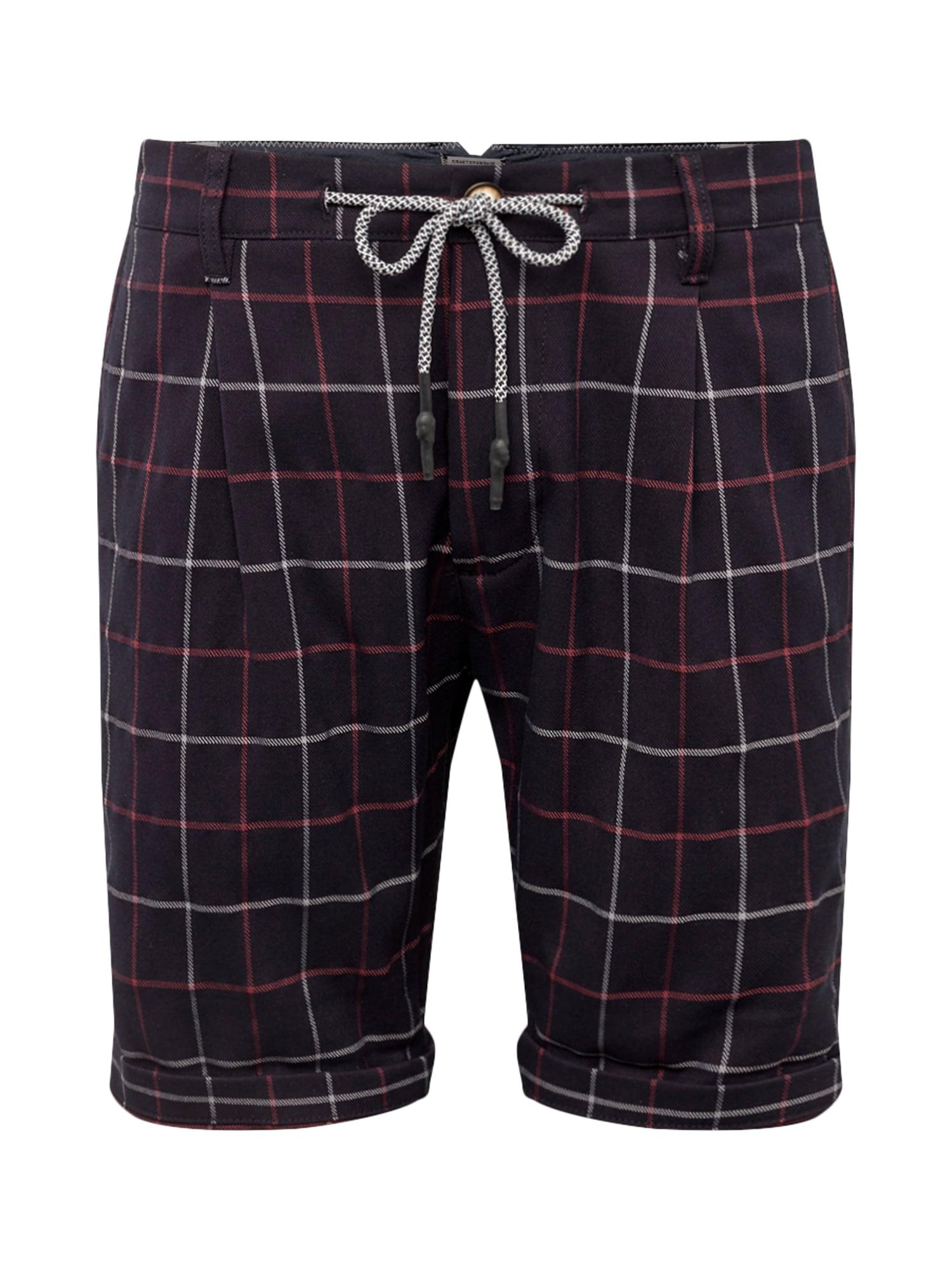 Kalhoty se sklady v pase ARROW CHECK tmavě modrá červená bílá JACK & JONES