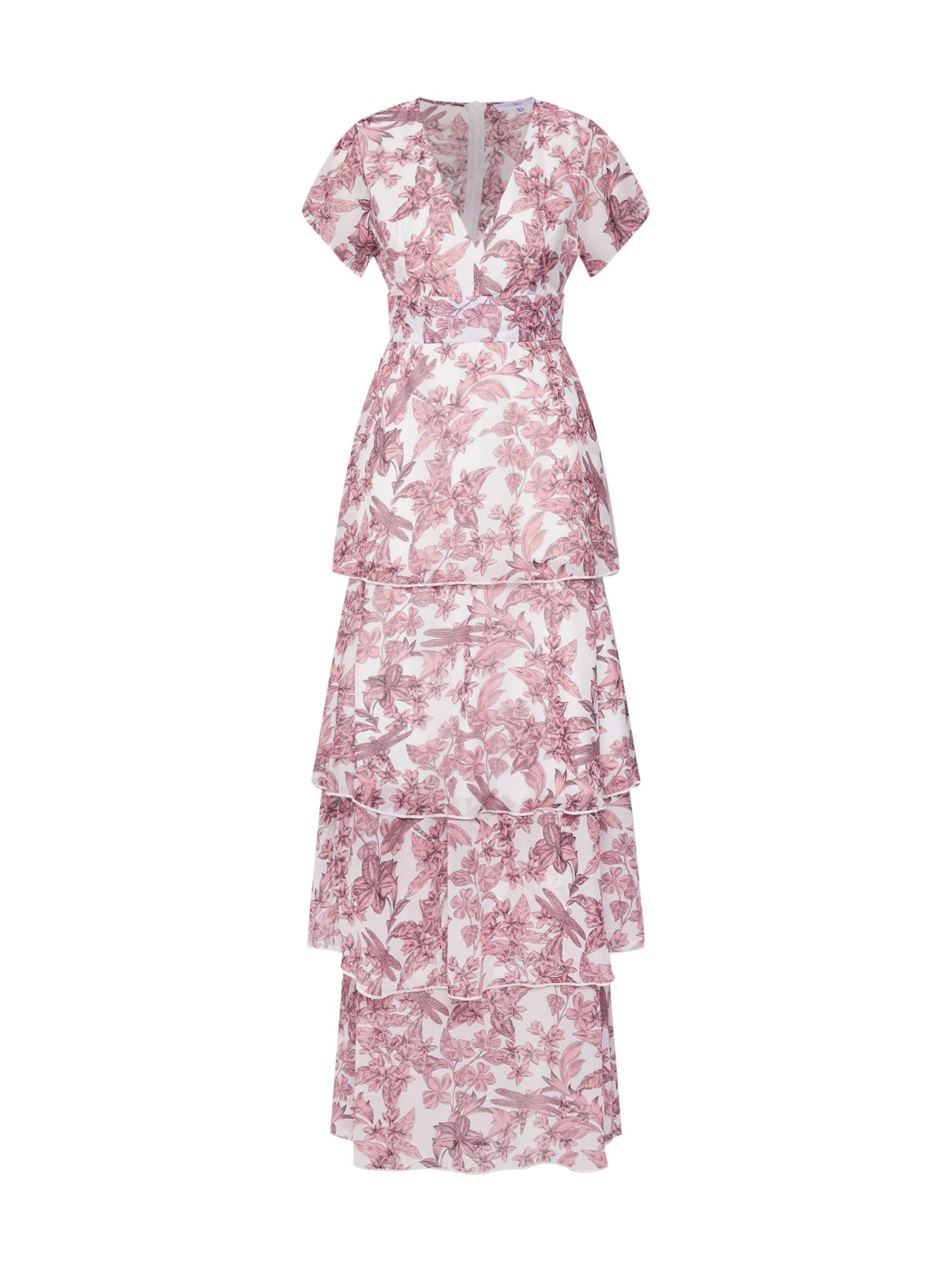 Společenské šaty Floral Frill Layered růže bílá Missguided