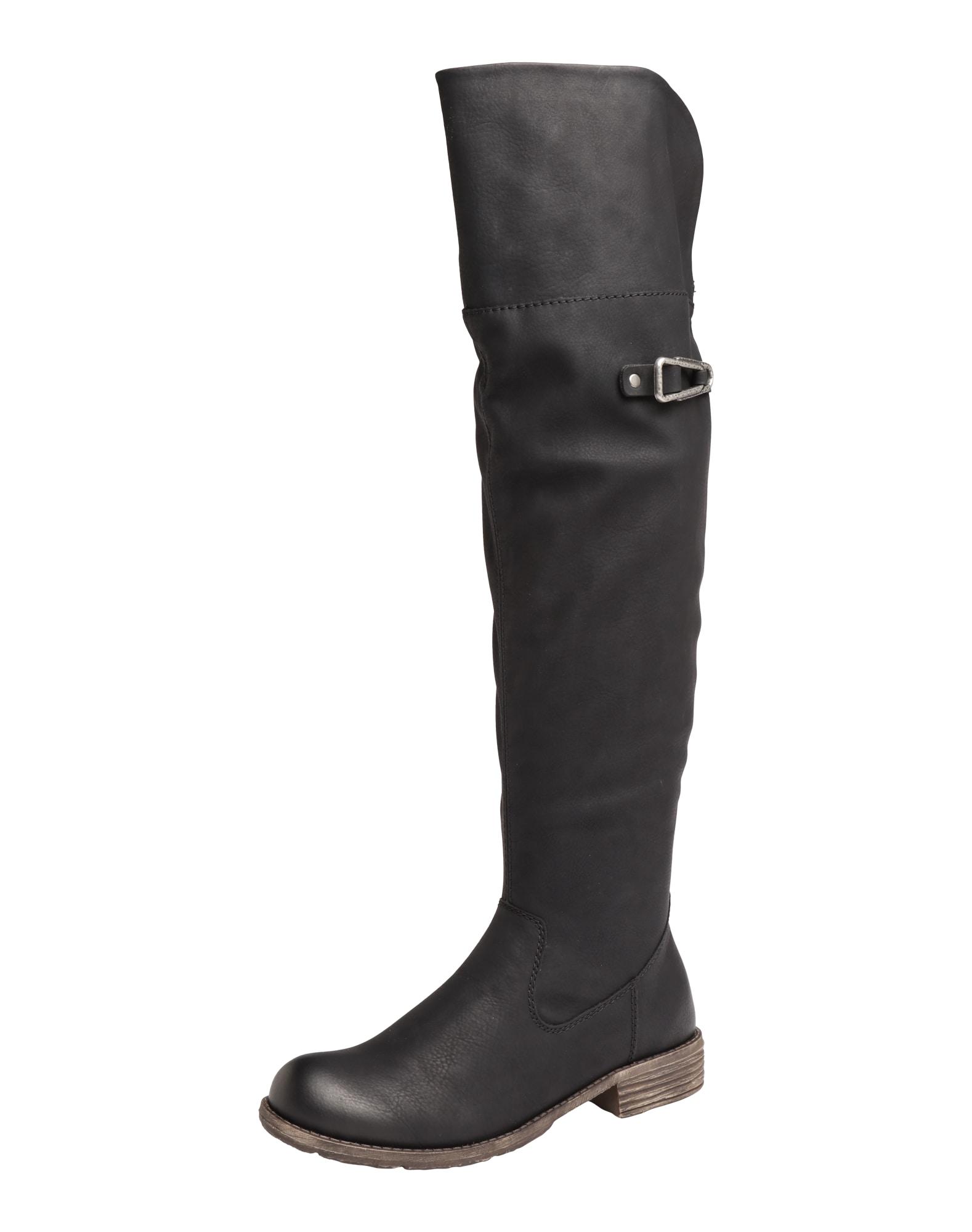 RIEKER, Dames Overknee laarzen, zwart