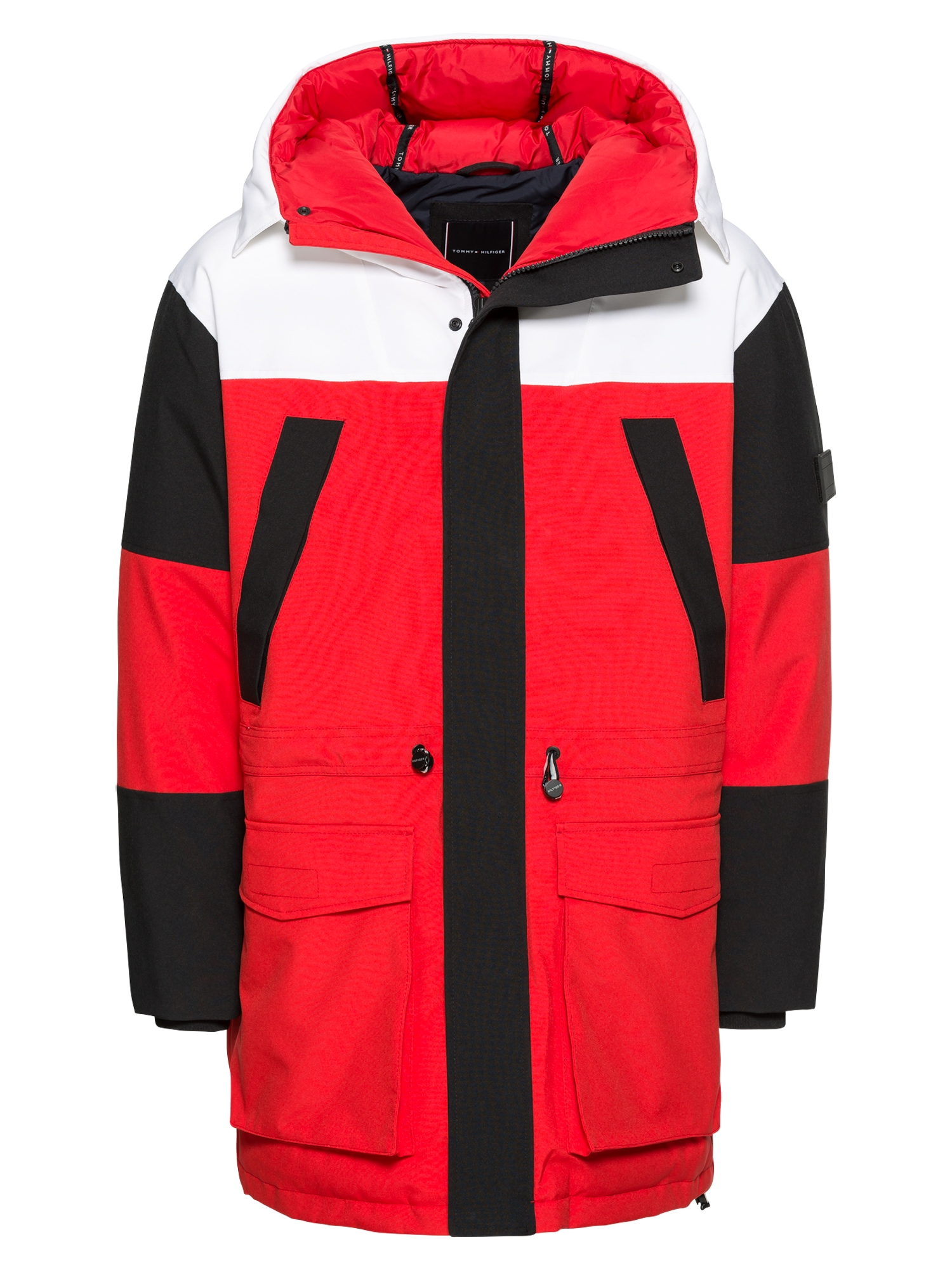 Zimní bunda COLOURBLOCK červená černá bílá TOMMY HILFIGER