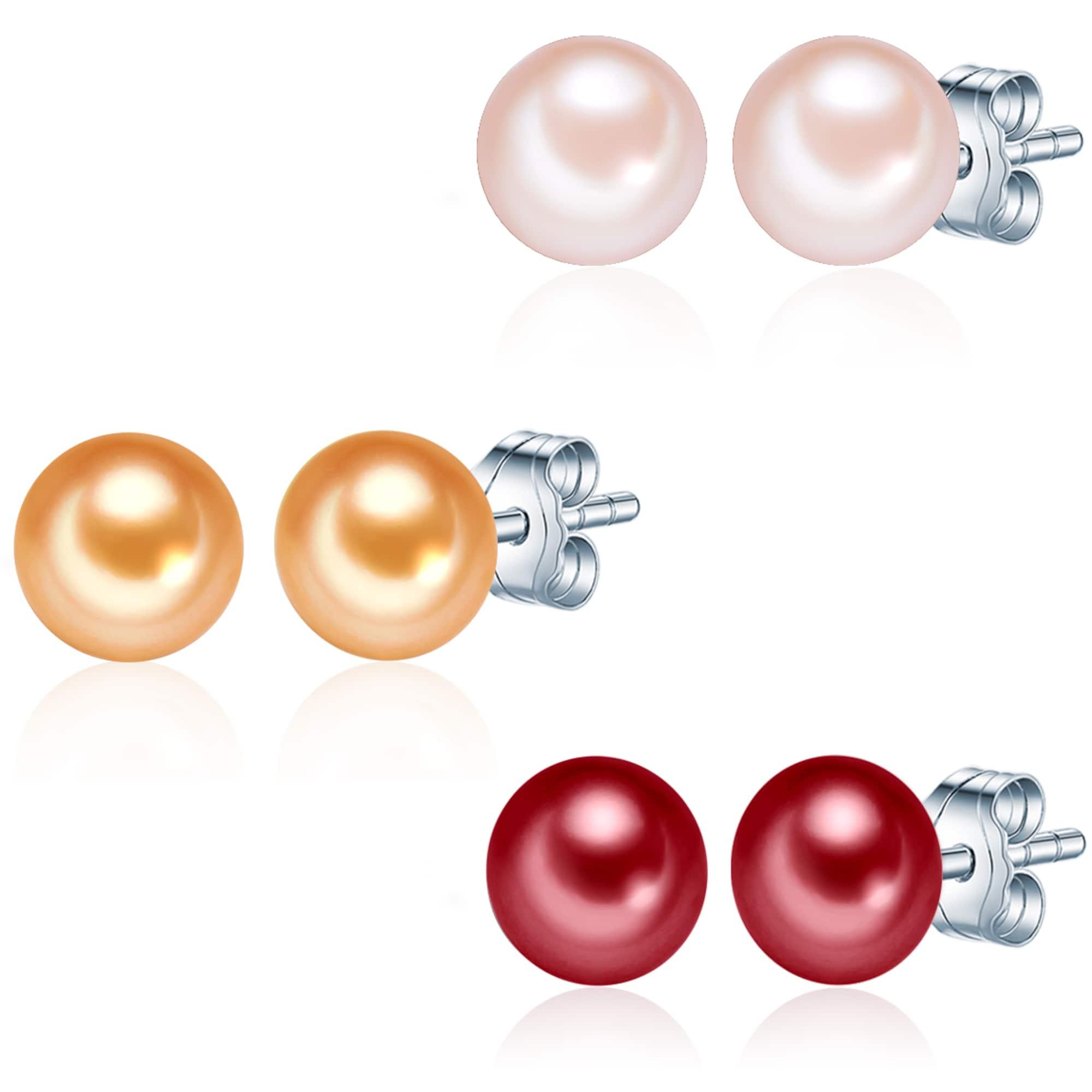 Silber-Ohrstecker mit Süßwasser-Zuchtperlen (3er Set)   Schmuck   Rosa   Valero Pearls
