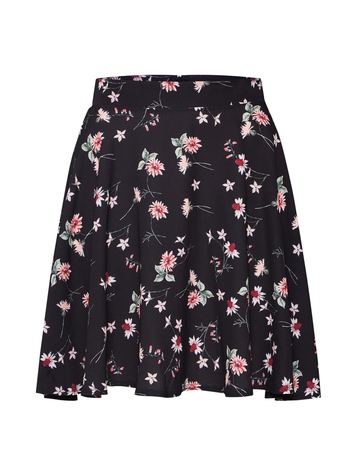 Sukně FLORAL FLIPPY růžová černá Boohoo
