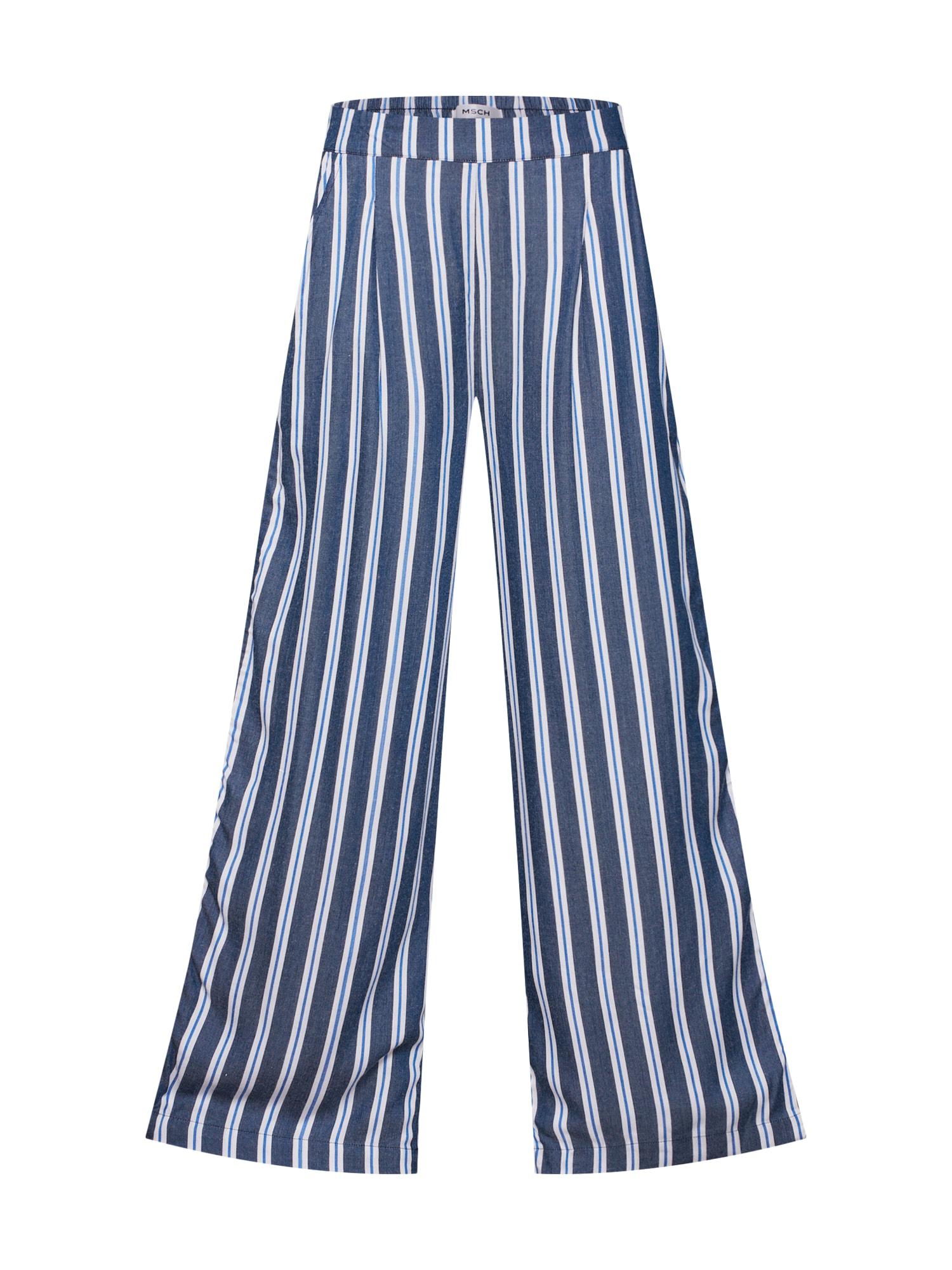 Kalhoty Alana modrá světlemodrá bílá MOSS COPENHAGEN