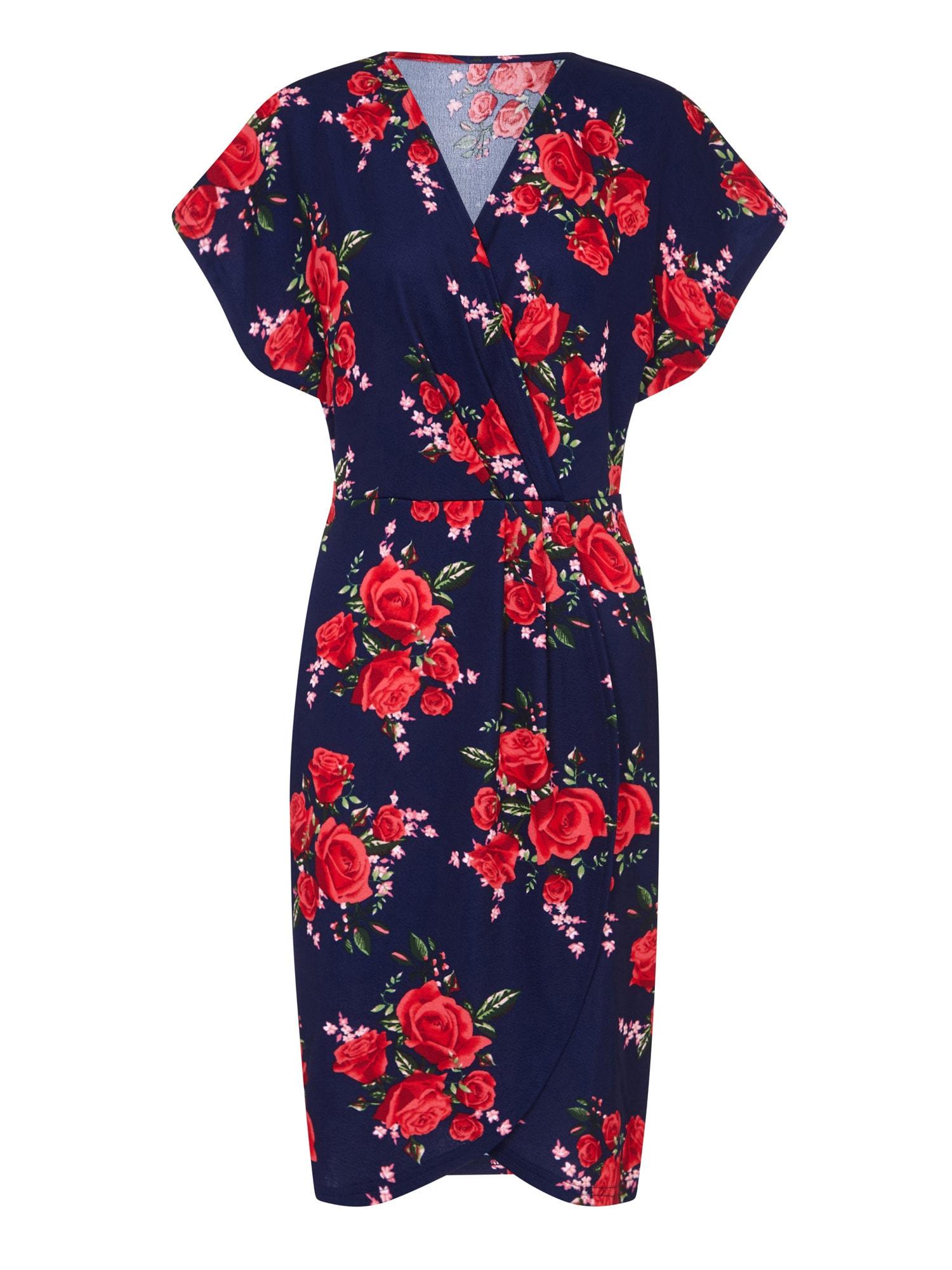 Letní šaty WRAP EFFECT DRESS námořnická modř červená Mela London