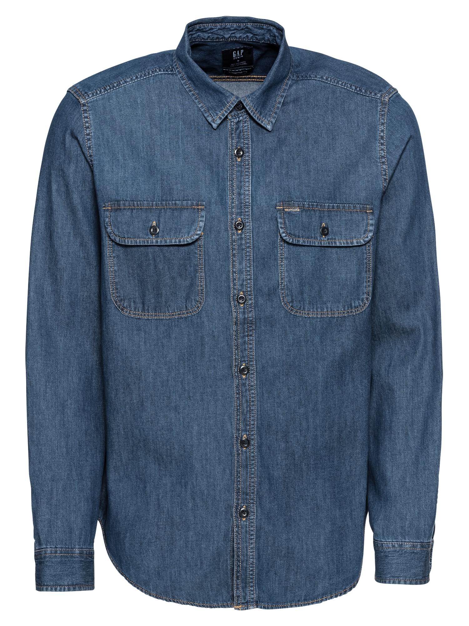 Košile V-WORKER MEDIUM AUTHENTIC modrá džínovina GAP