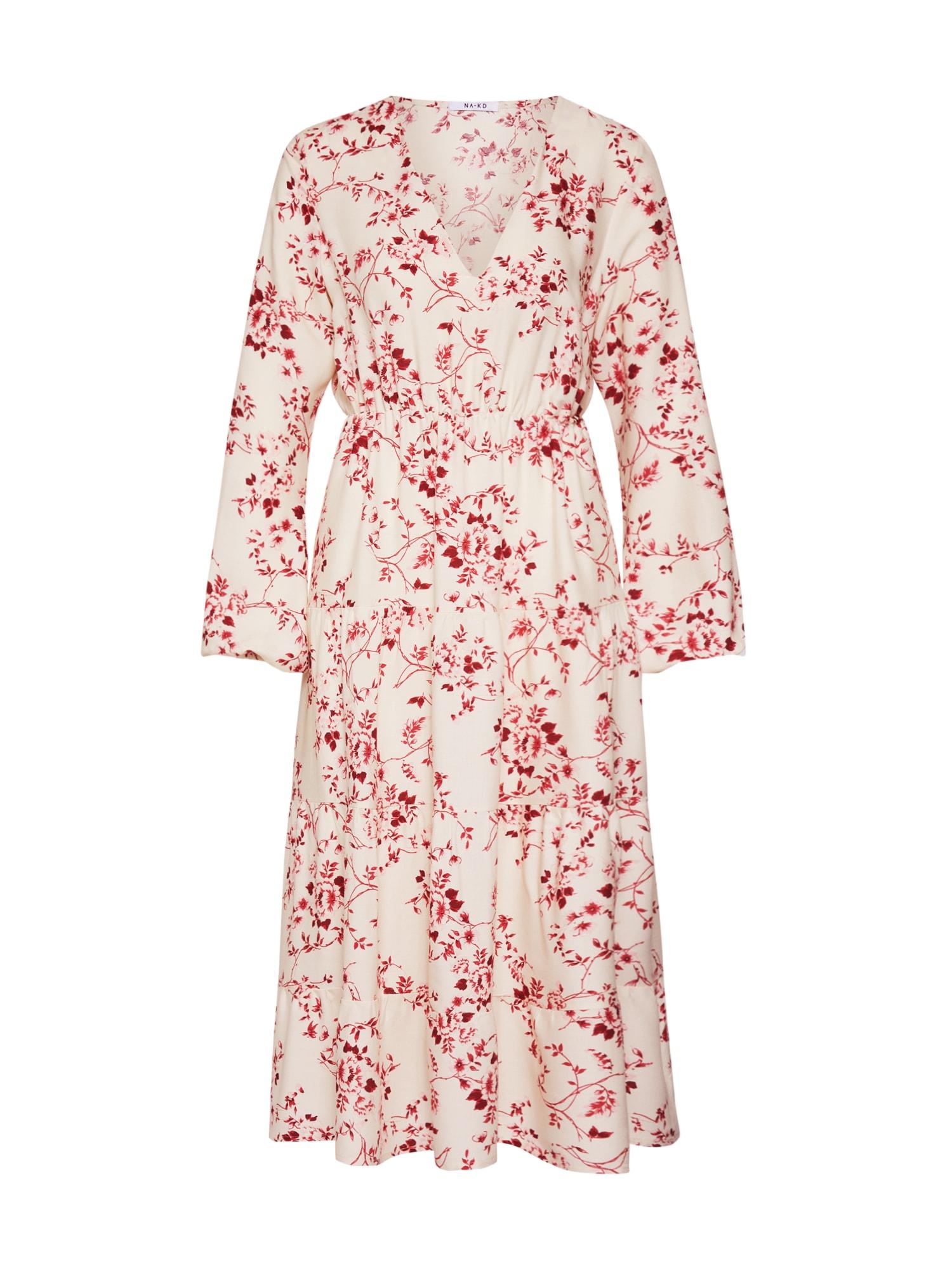 Letní šaty červená bílá NA-KD