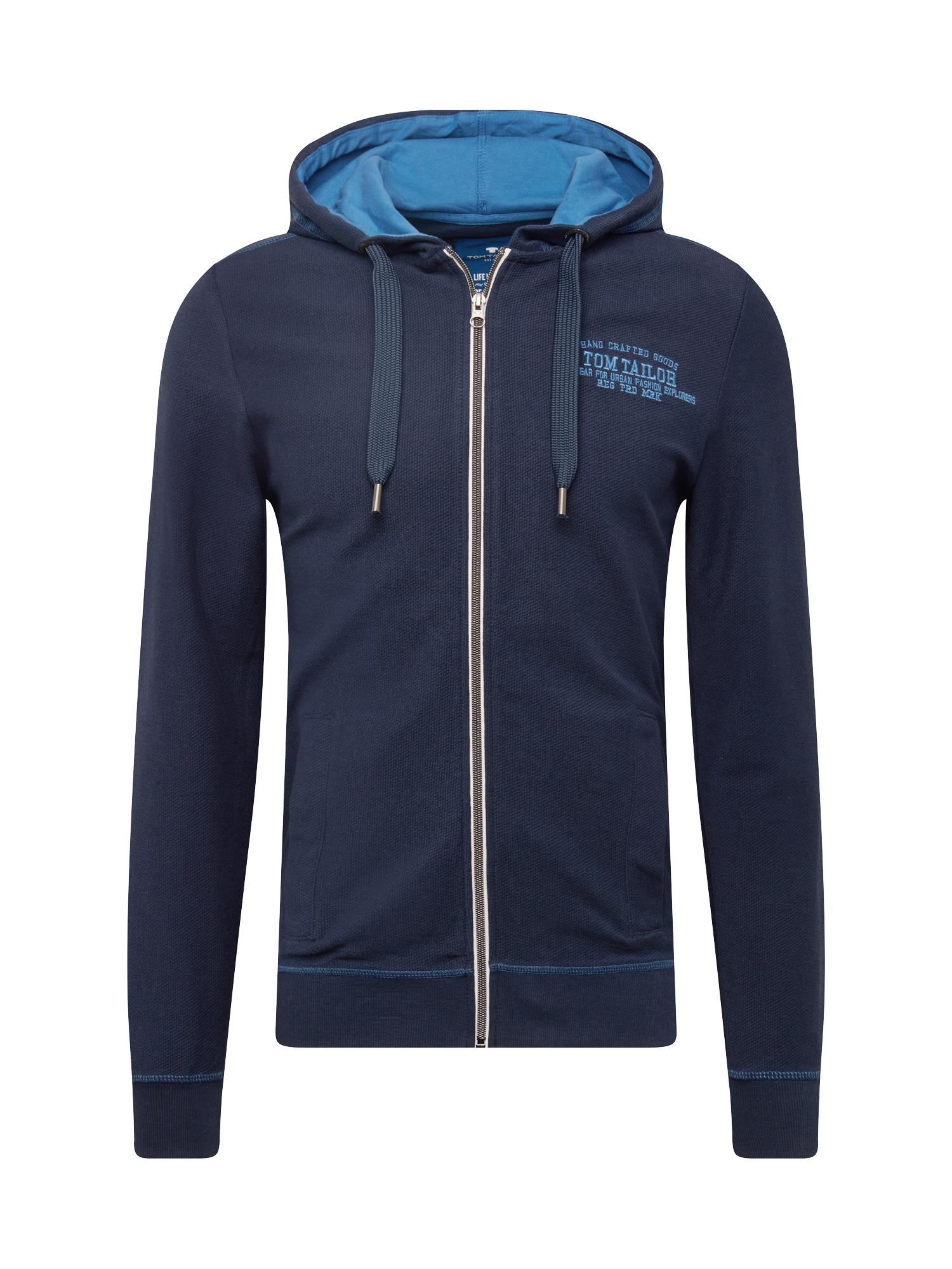 Mikina s kapucí sweat jacket with hood modrá TOM TAILOR