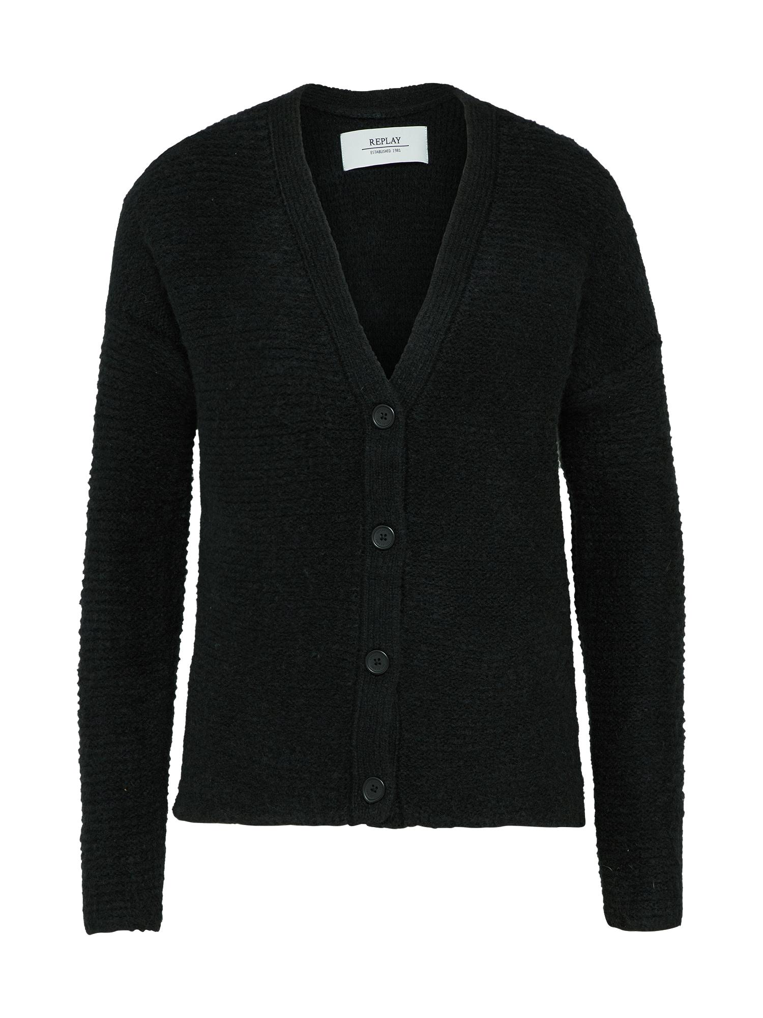 REPLAY Dames Oversized vest Mesh zwart