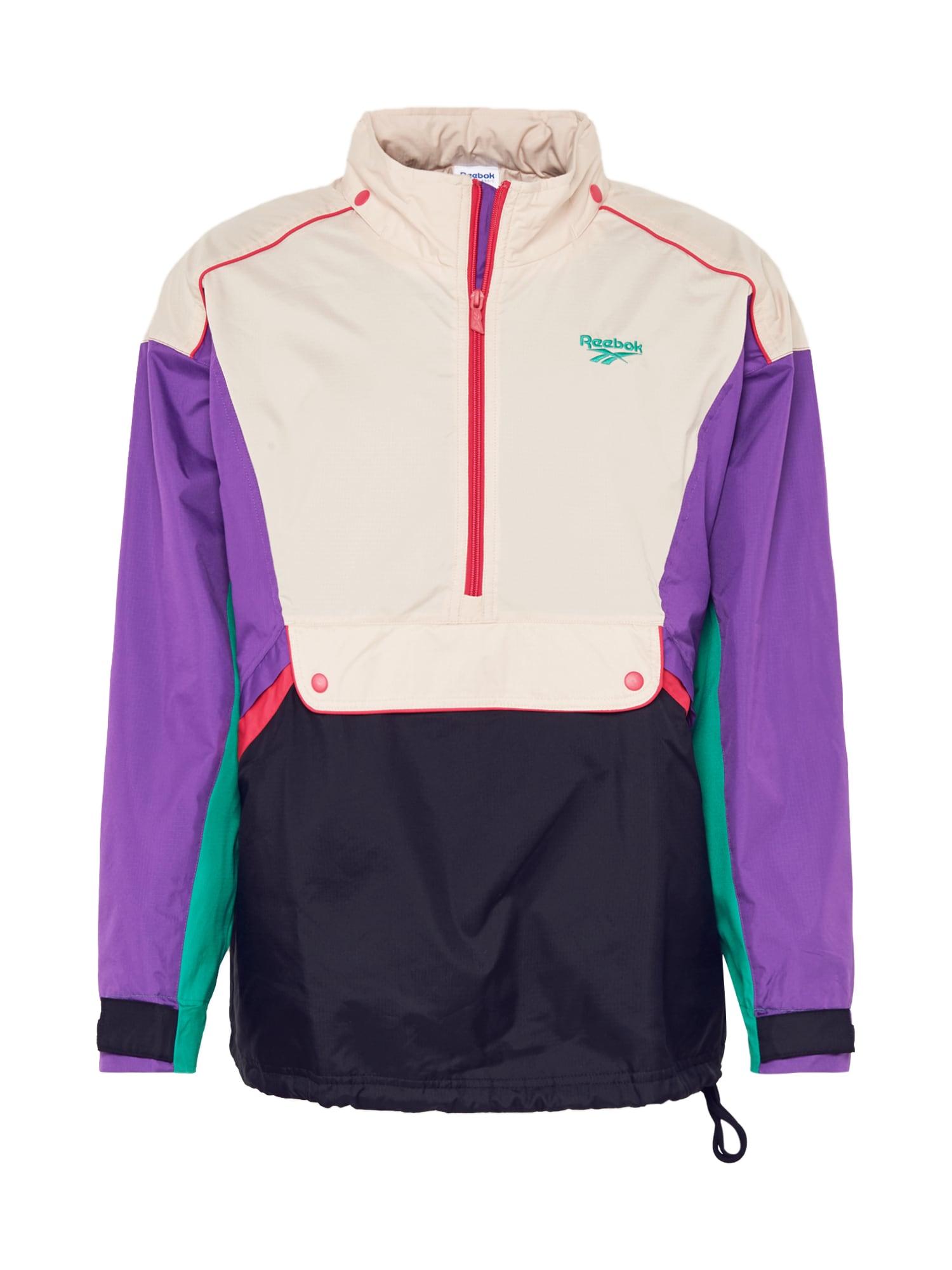 Reebok Classic Prechodná bunda  béžová / tmavomodrá / nefritová / fialová / neónovo ružová
