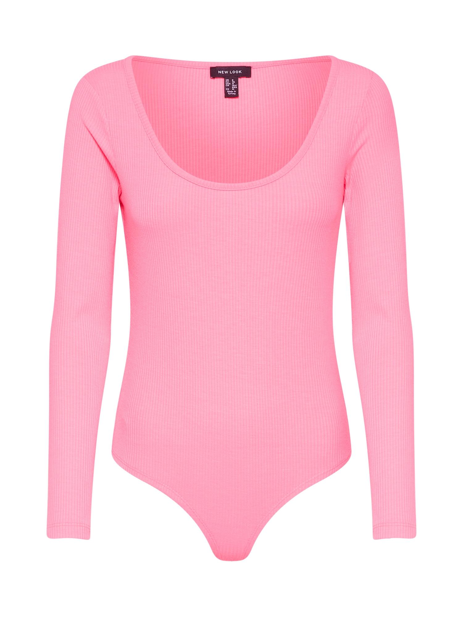 Tričko FLURO LS RIB BODY svítivě růžová NEW LOOK