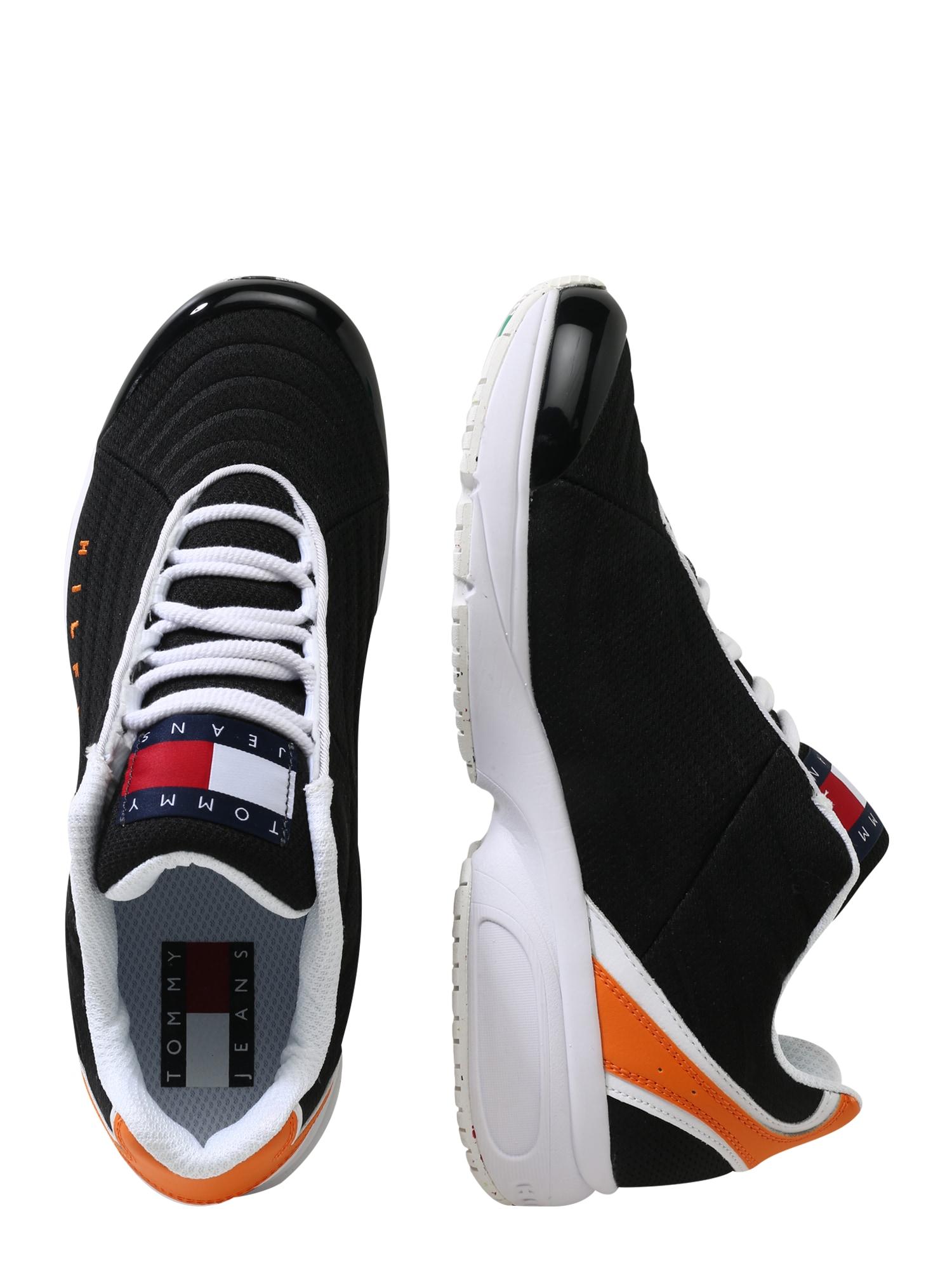 Tommy Jeans Tenisky 'HERITAGE'  černá / bílá / oranžová