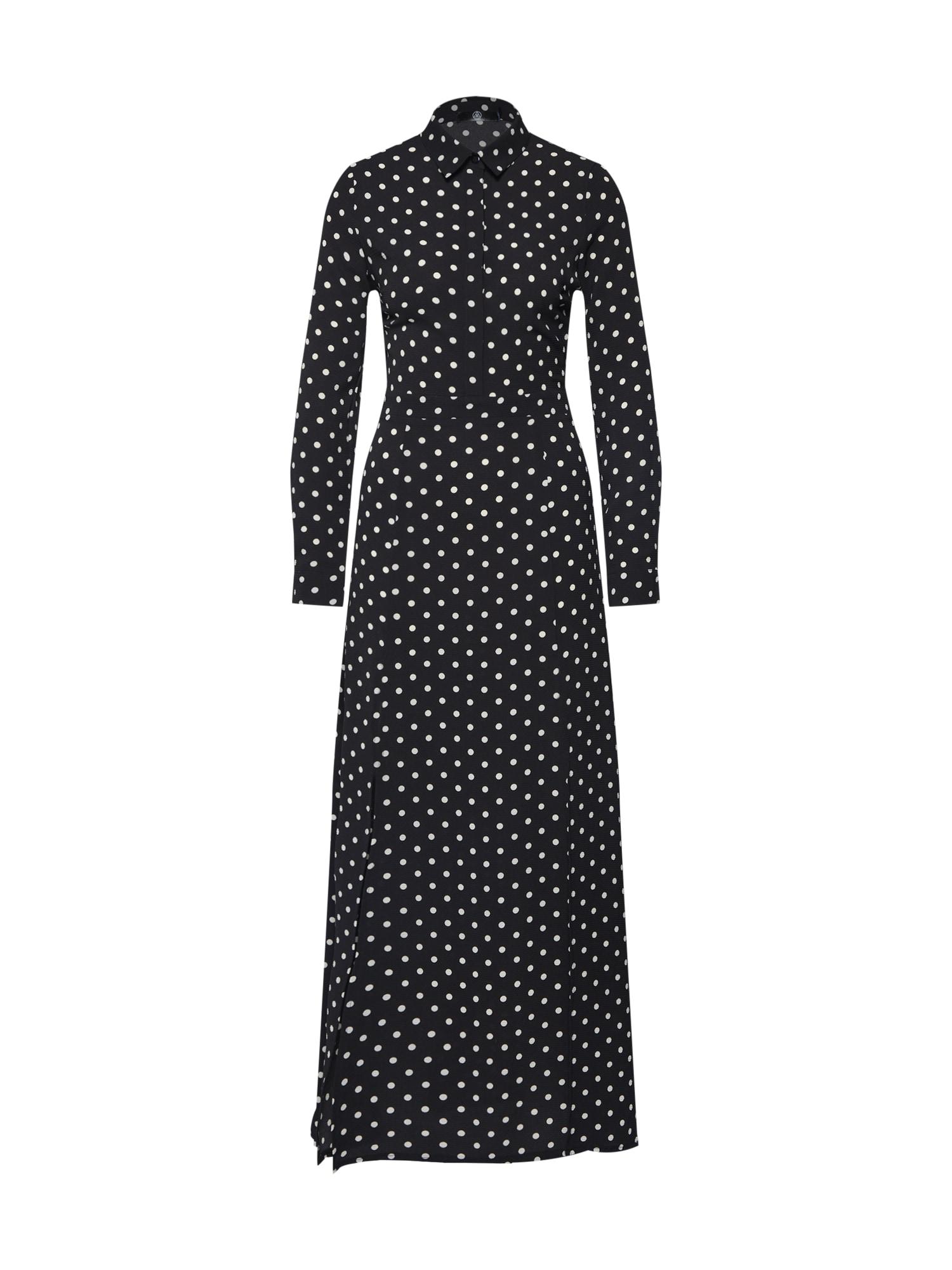 Košilové šaty Polka Dot Front Split Long Sleeve Maxi Dress Black černá bílá Missguided