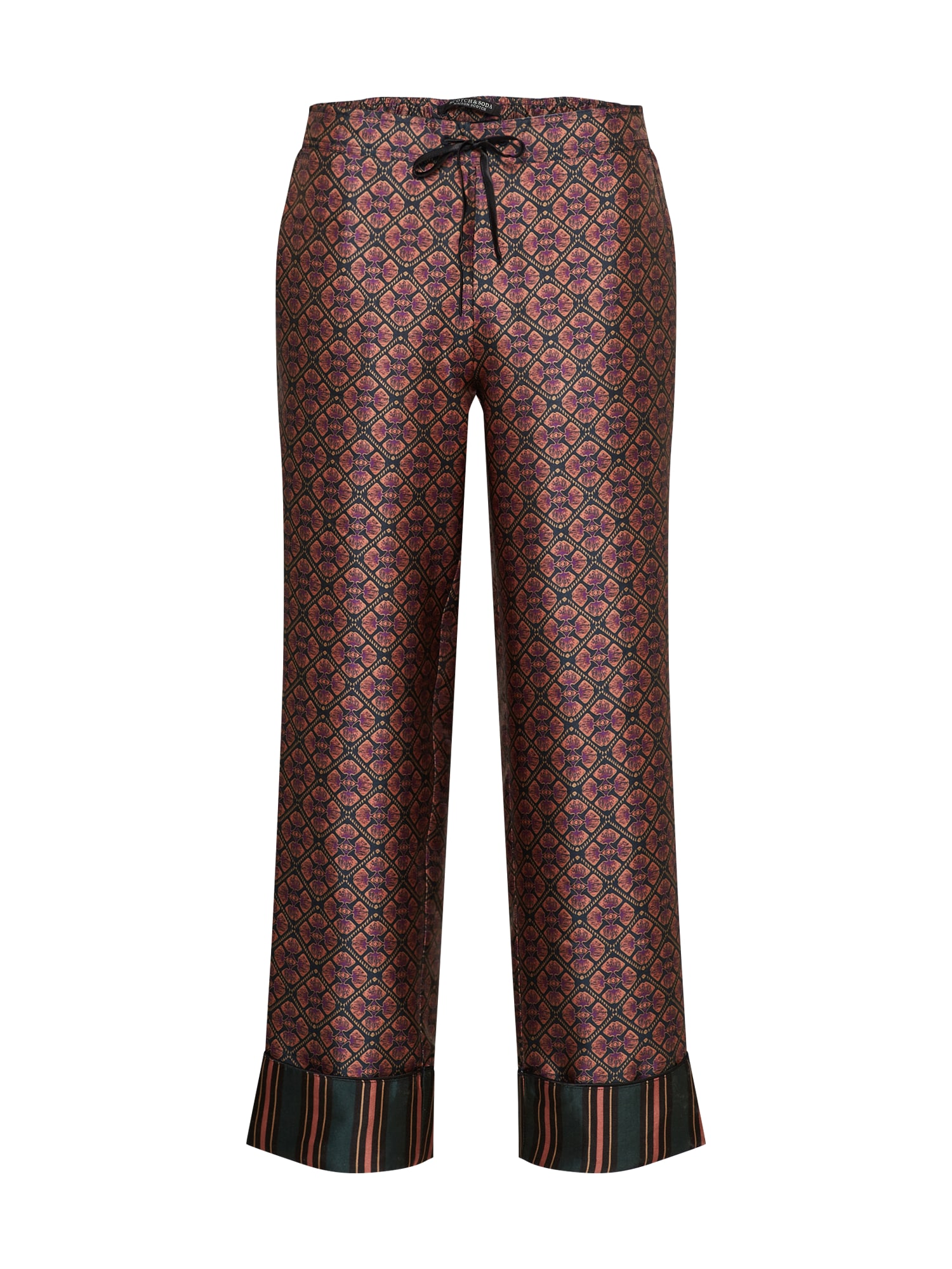 SCOTCH  and  SODA Dames Broek Structured wide leg pyjama pants with contrast strip