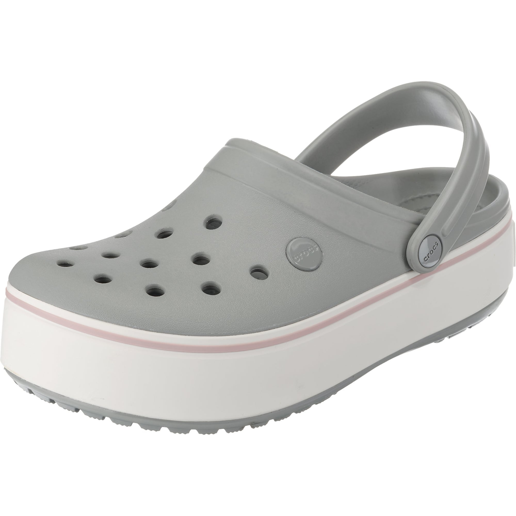 Crocs, Dames Clogs 'Crocband', grijs / rosa / wit