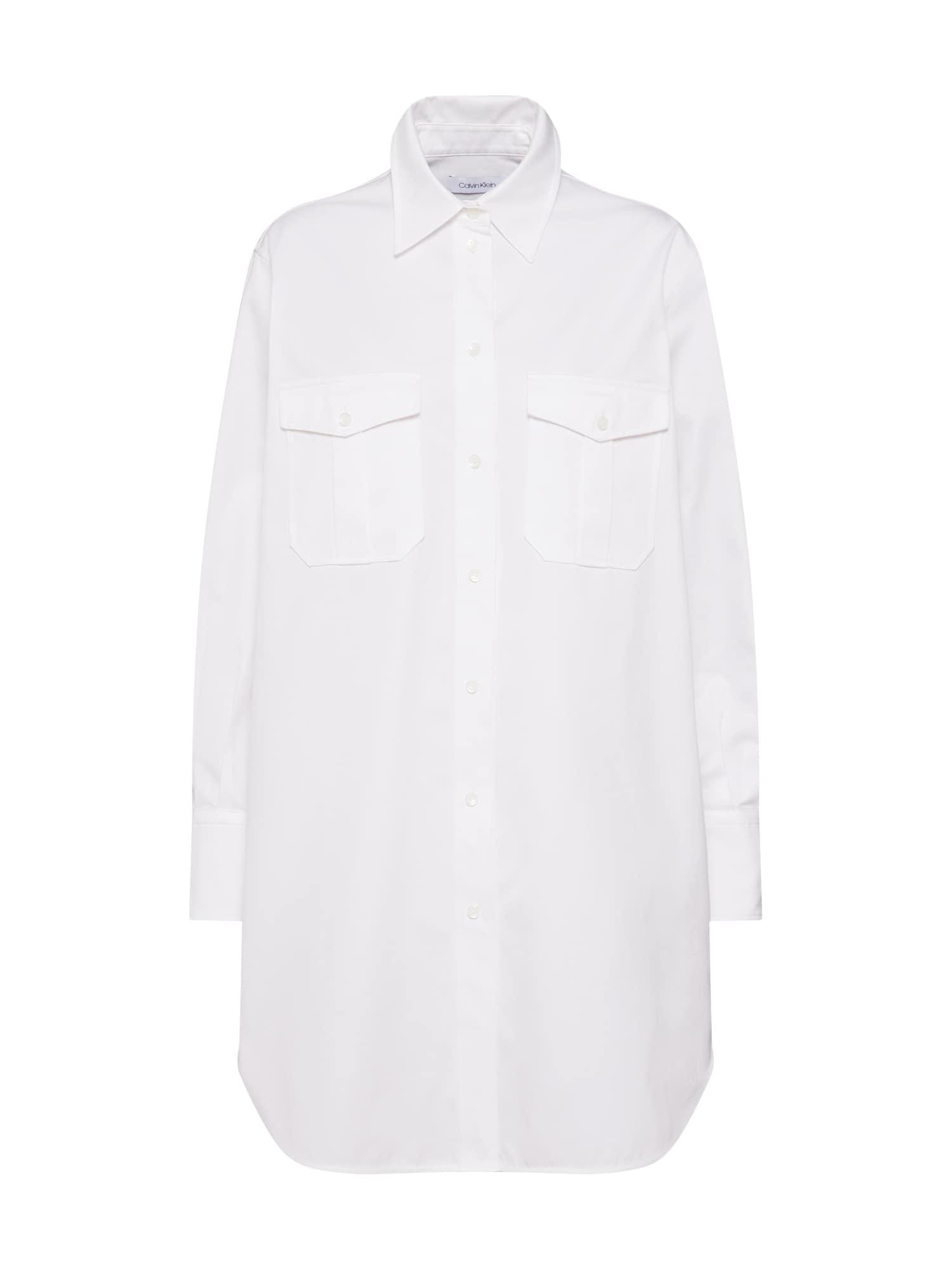 Košilové šaty POLICE PKT TUNIC DRESS LS bílá Calvin Klein