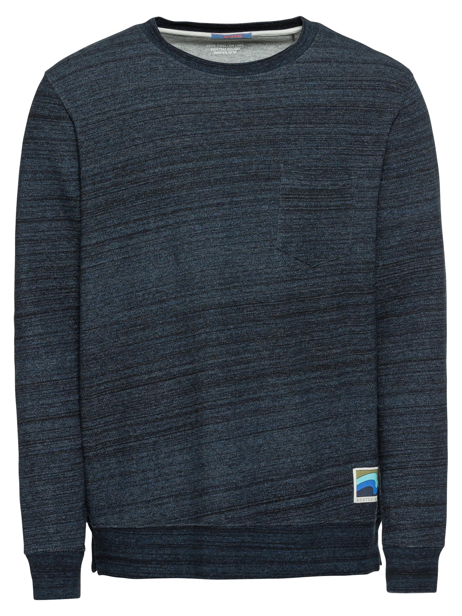 Tričko kobaltová modř černý melír SCOTCH & SODA
