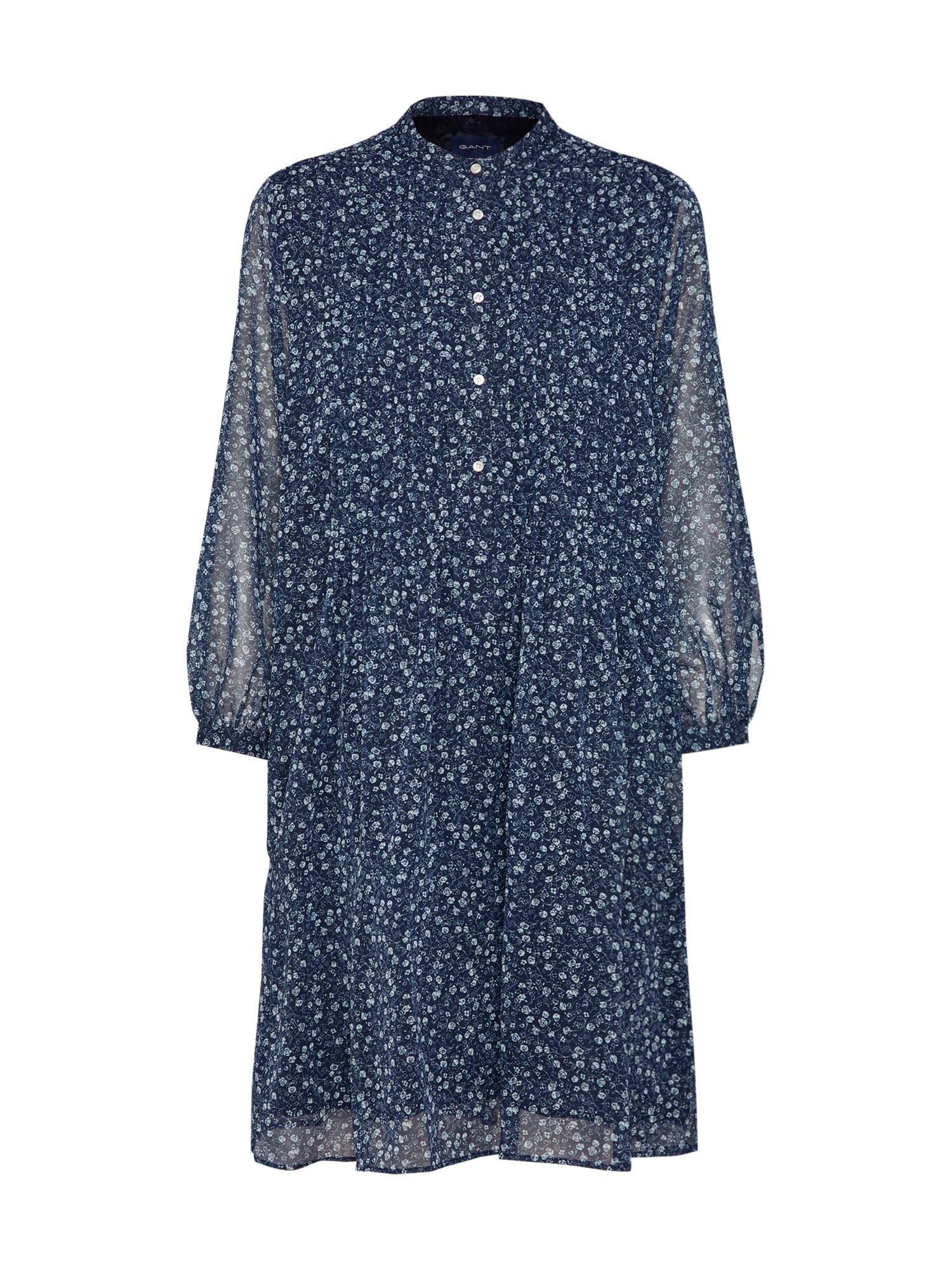 Košilové šaty marine modrá přírodní bílá GANT
