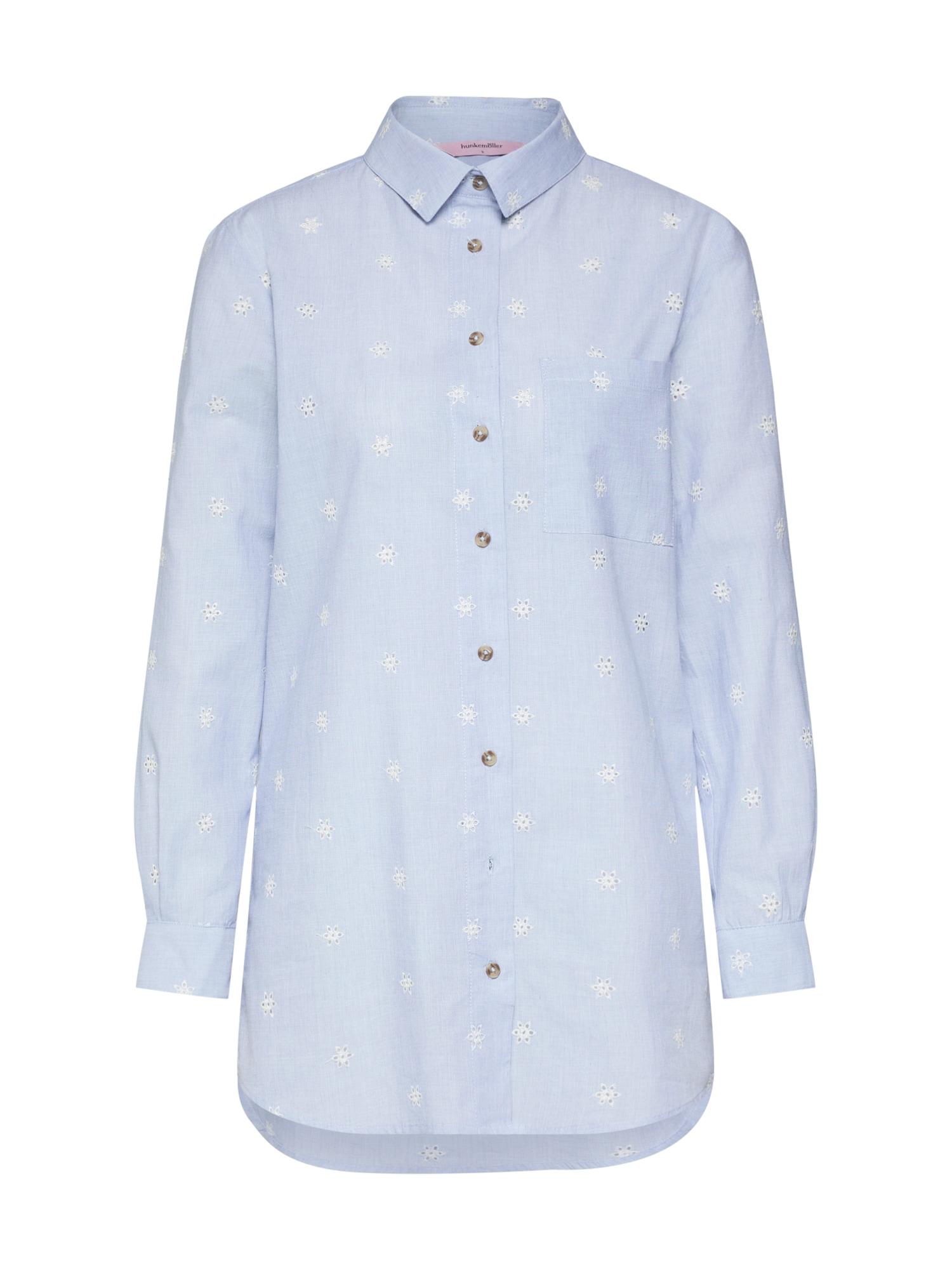 Noční košilka Menshirt Chambray Embroided světlemodrá bílá Hunkemöller