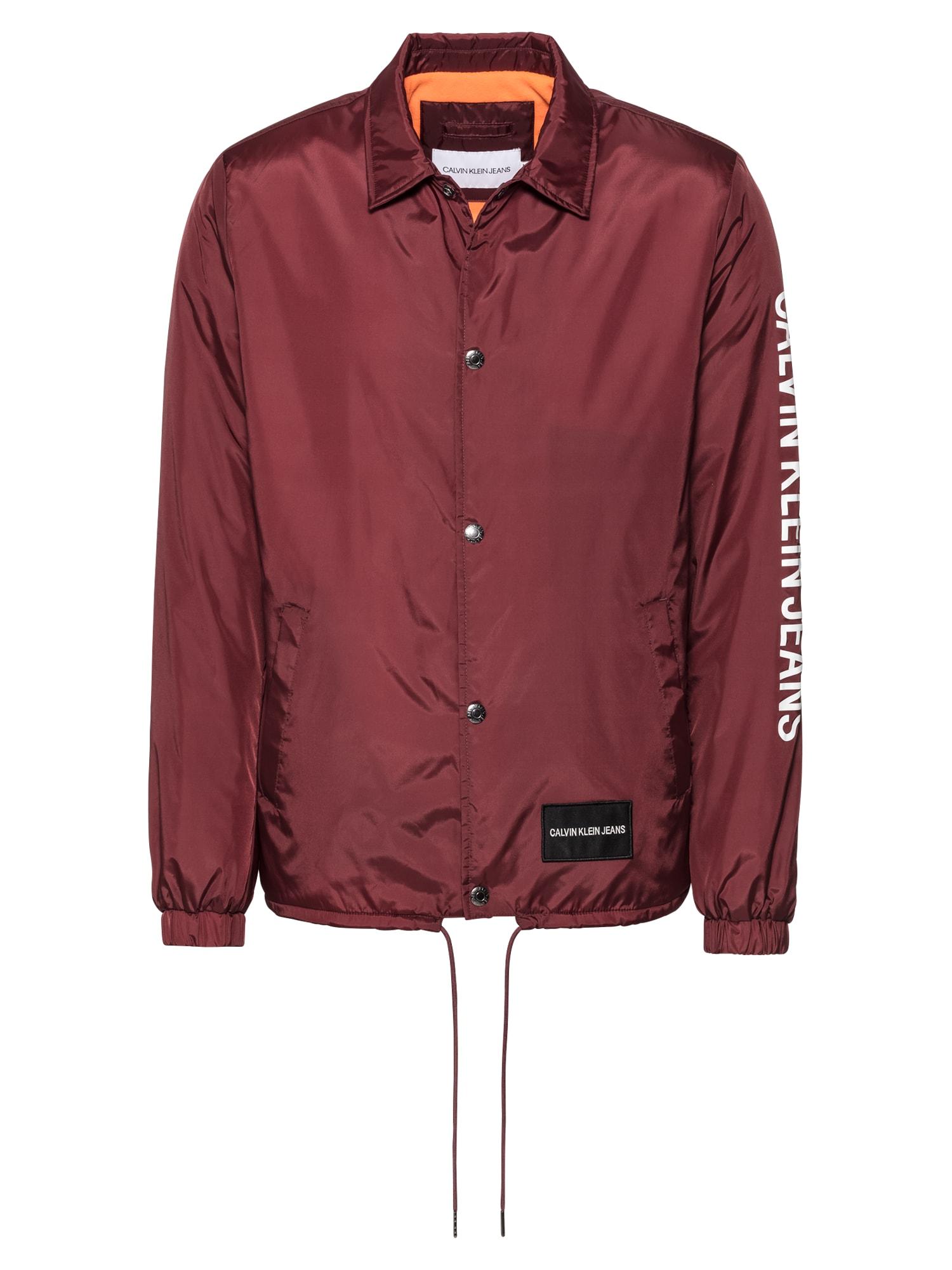Přechodná bunda SL INSTITUTIONAL COACH JACKET vínově červená bílá Calvin Klein Jeans