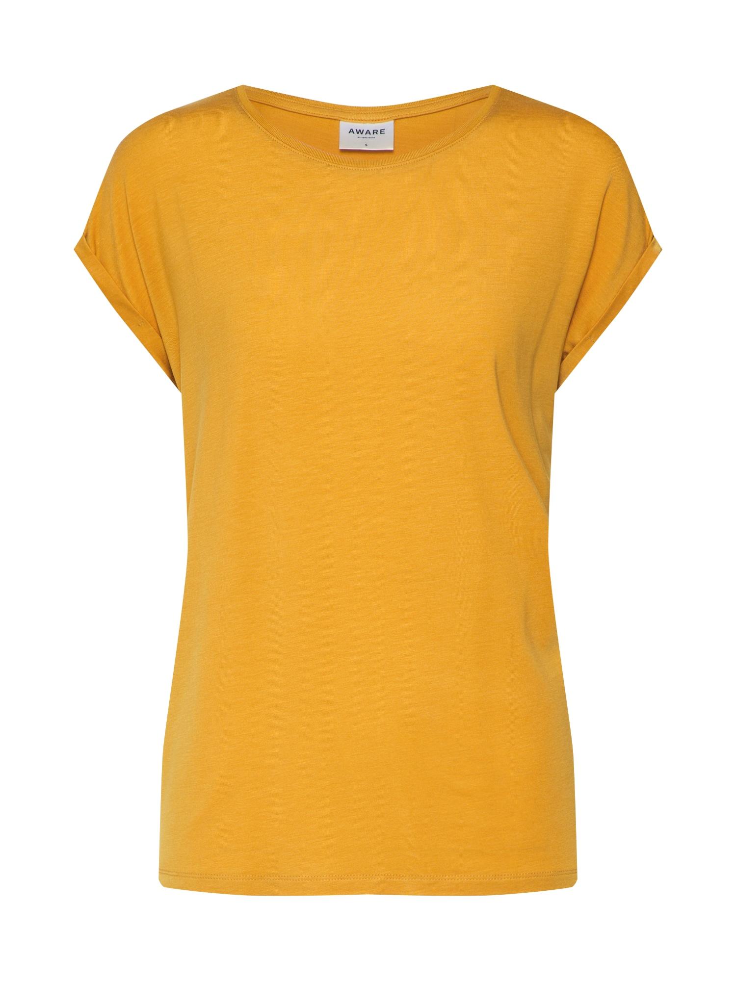 Oversized tričko AVA PLAIN zlatě žlutá VERO MODA