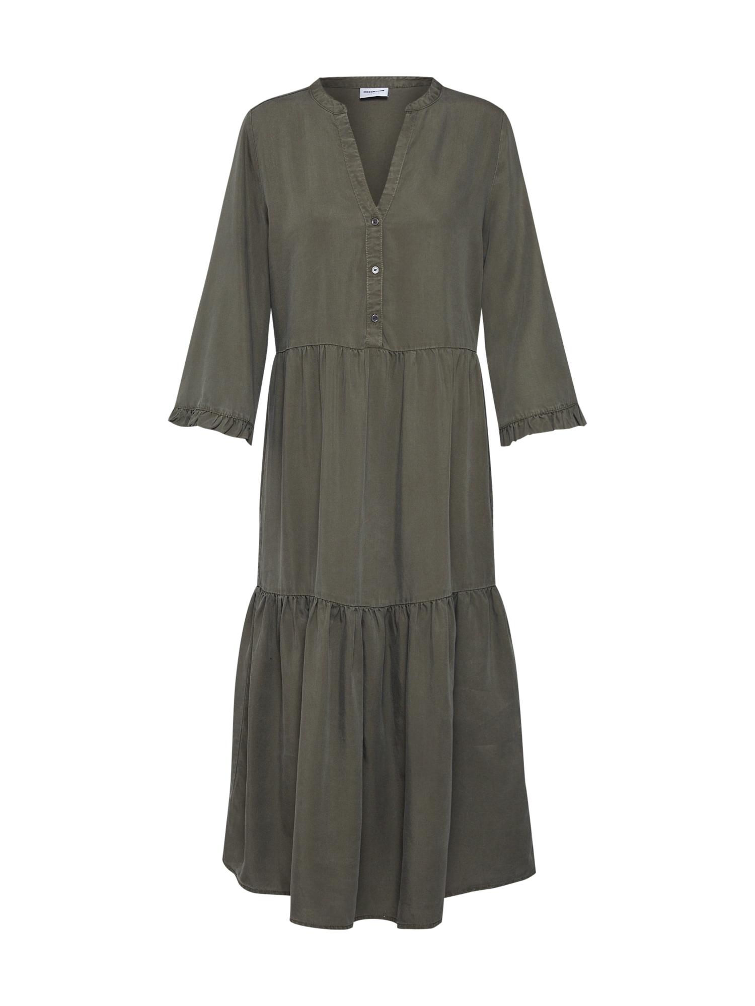 Košilové šaty NMENDI LONG DRESS olivová Noisy May