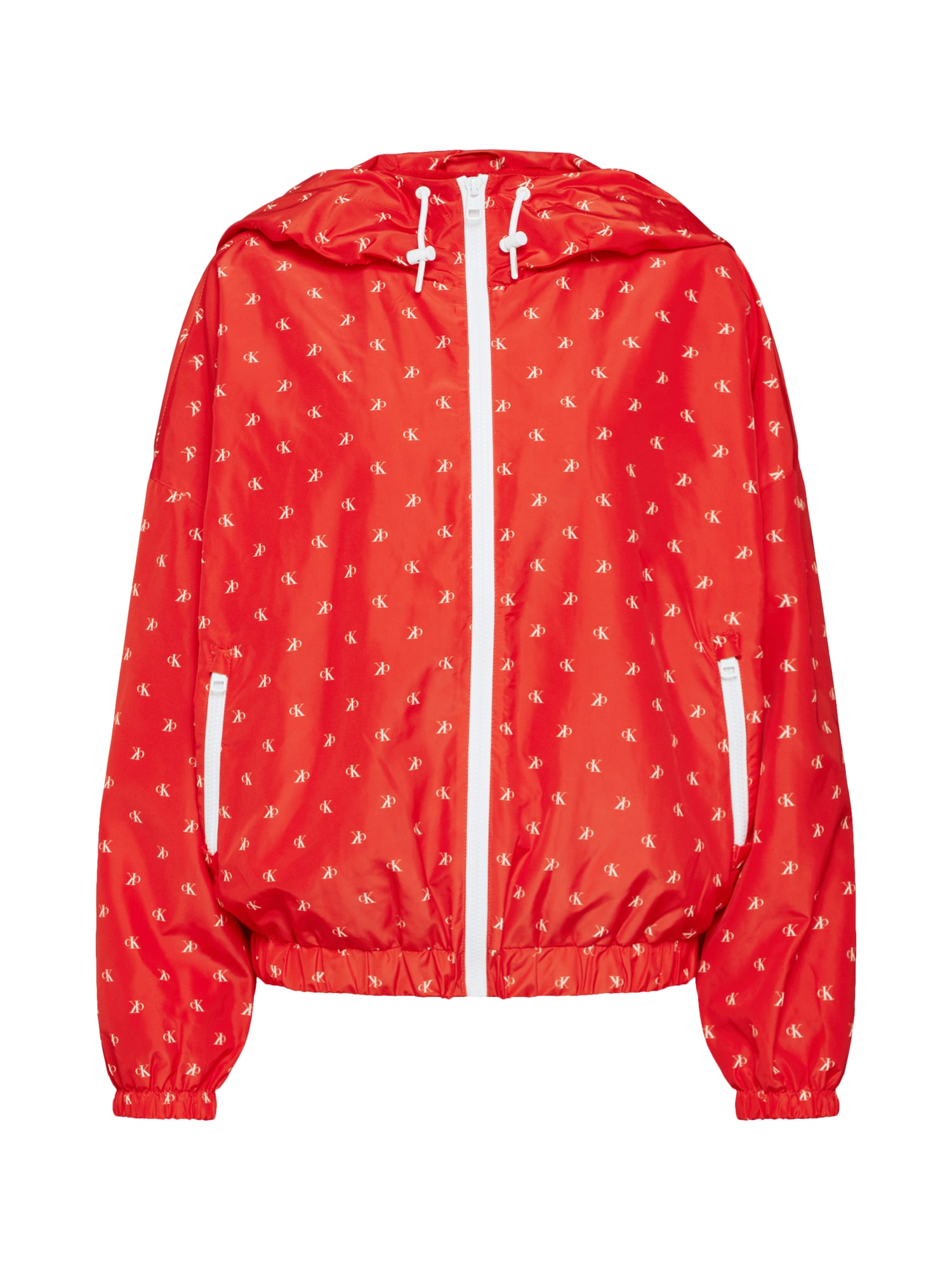 Přechodná bunda MONOGRAM AOP WINDBREAKER červená bílá Calvin Klein Jeans