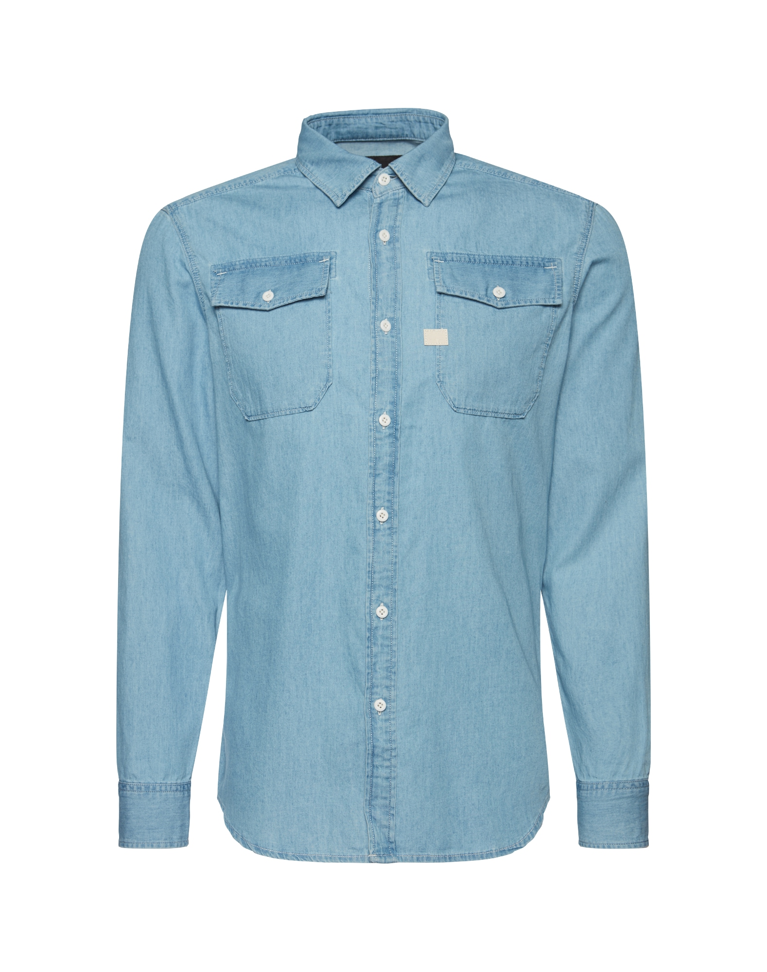 G-STAR RAW Heren Overhemd Landoh Shirt l s blue denim