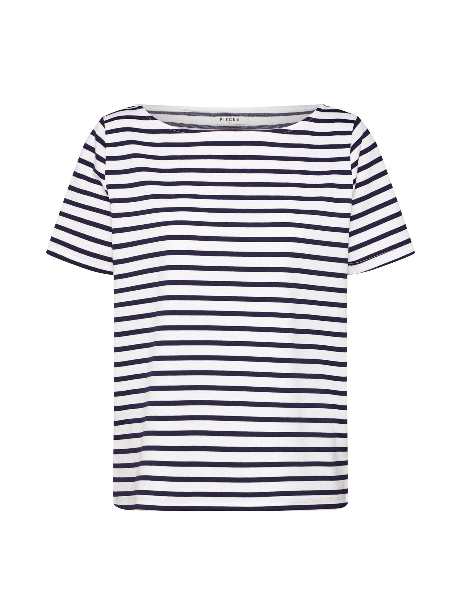 Tričko Ingrid modrá bílá PIECES