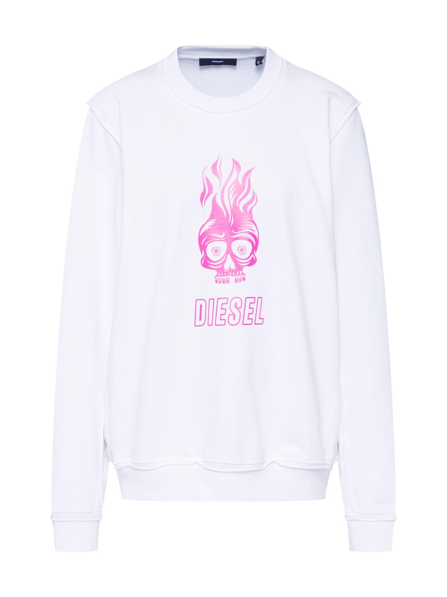 Mikina F-LYANY-E tmavě růžová bílá DIESEL