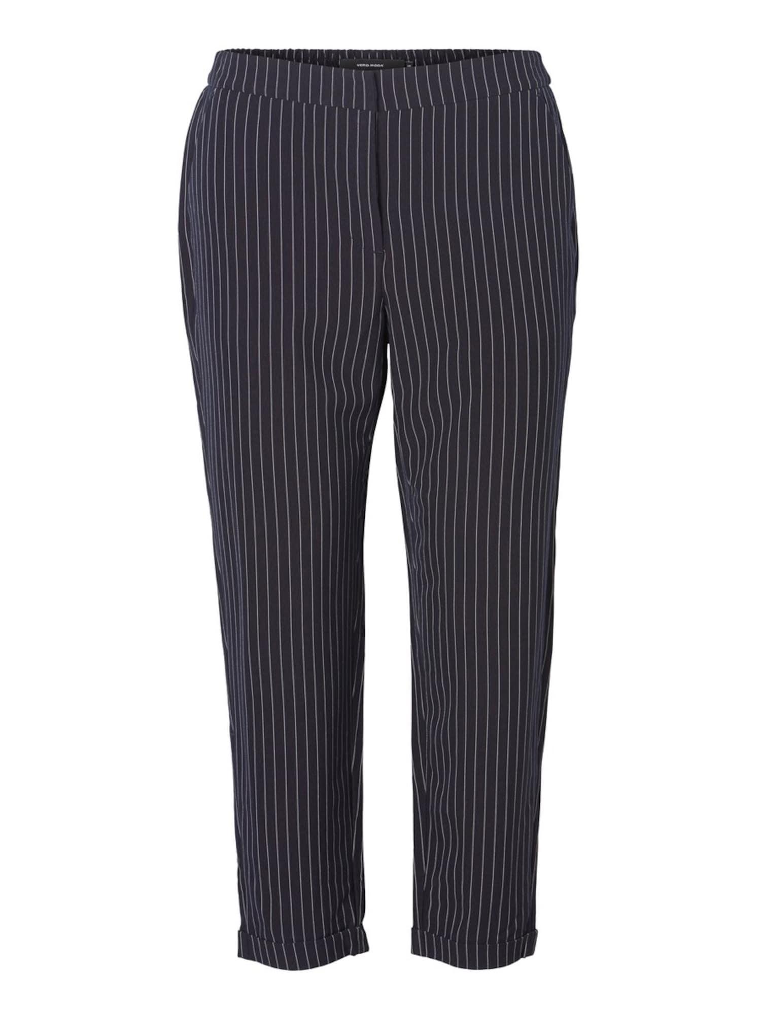 Kalhoty noční modrá bílá Vero Moda Curve