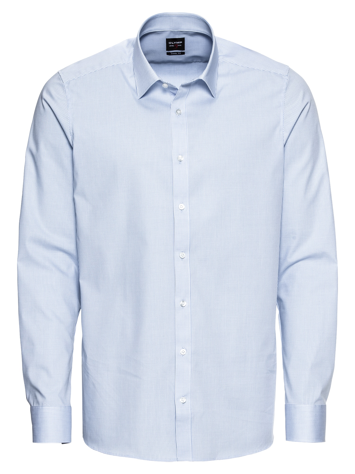 Společenská košile Level 5 Vichykaro modrá bílá OLYMP