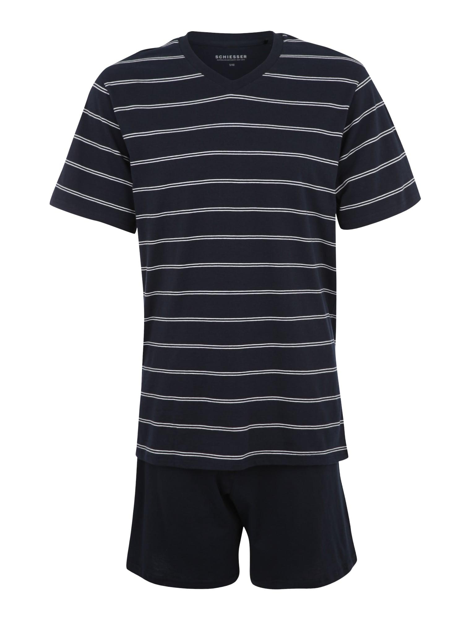 Pyžamo krátké námořnická modř bílá SCHIESSER