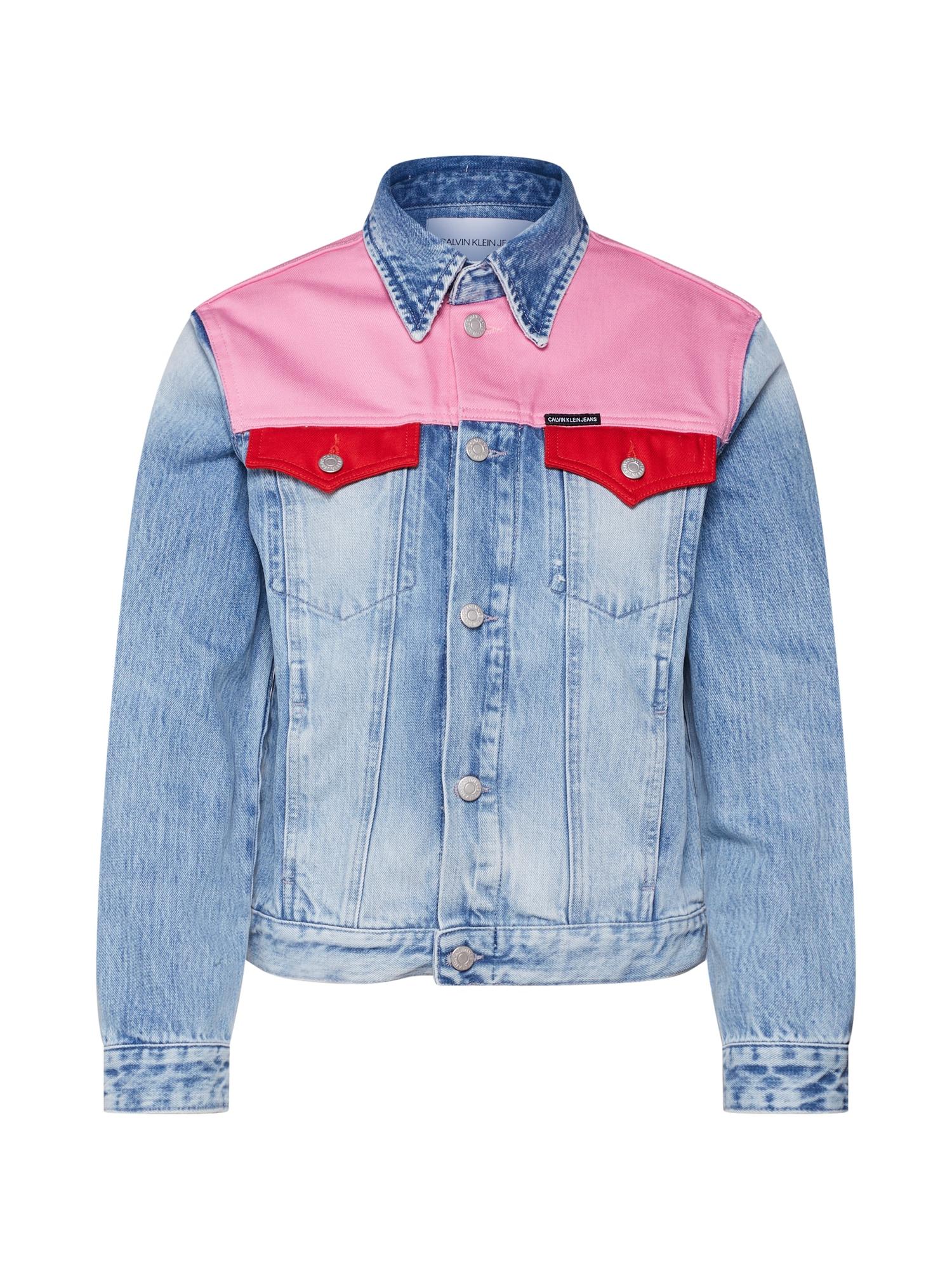 Přechodná bunda FOUNDATION TRUCKER modrá džínovina tmavě růžová tmavě červená Calvin Klein Jeans