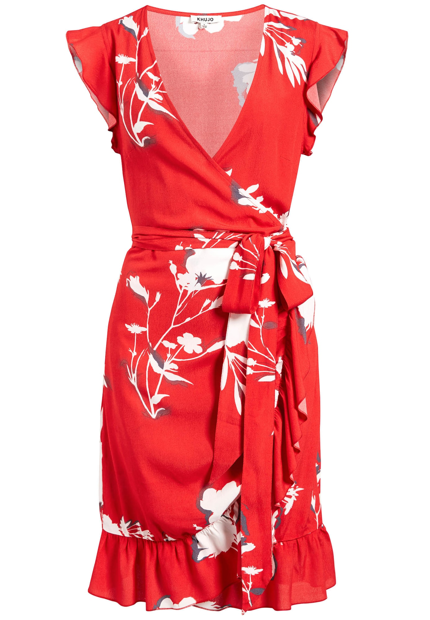 Letní šaty Emery tmavě šedá ohnivá červená bílá Khujo