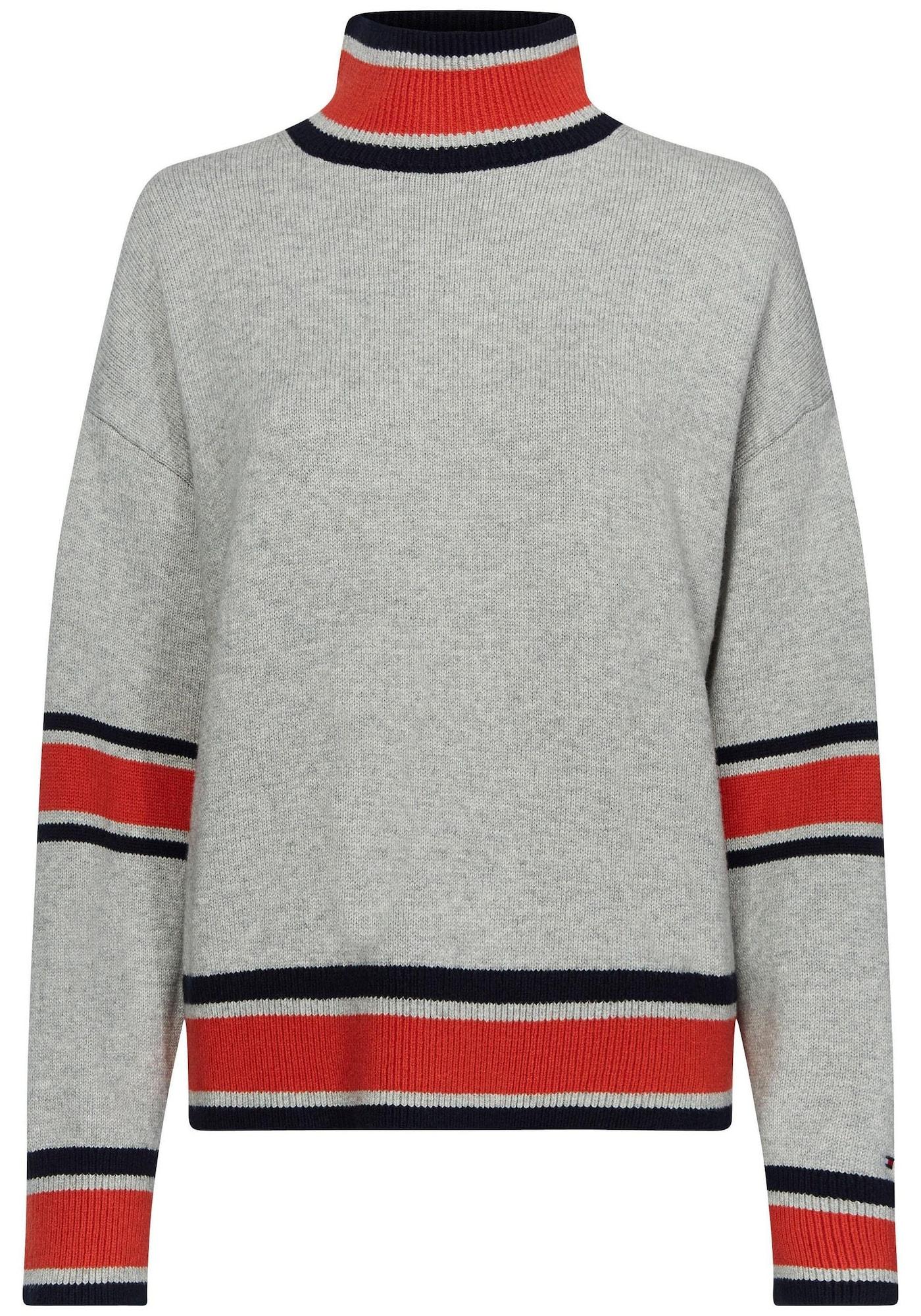 Stehkragenpullover | Bekleidung > Pullover > Stehkragenpullover | Hellgrau - Rot | Tommy Hilfiger