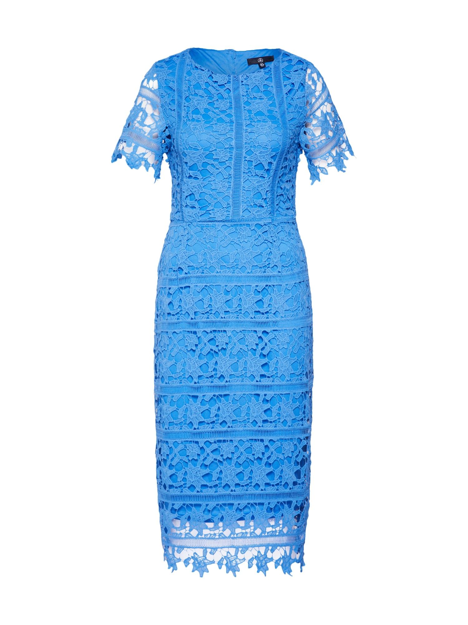 Koktejlové šaty Crochet Open Back modrá Missguided