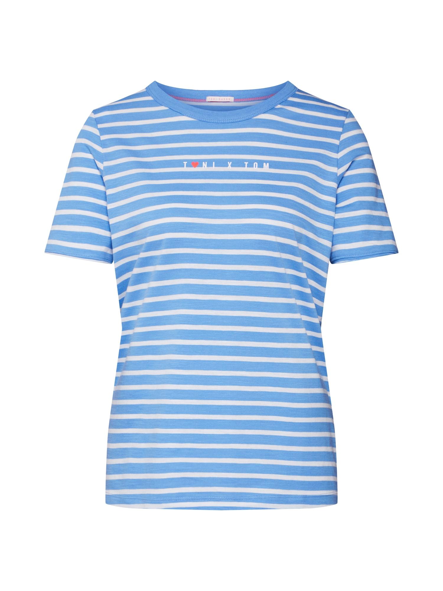 Tričko Toni x Tom modrá bílá TOM TAILOR