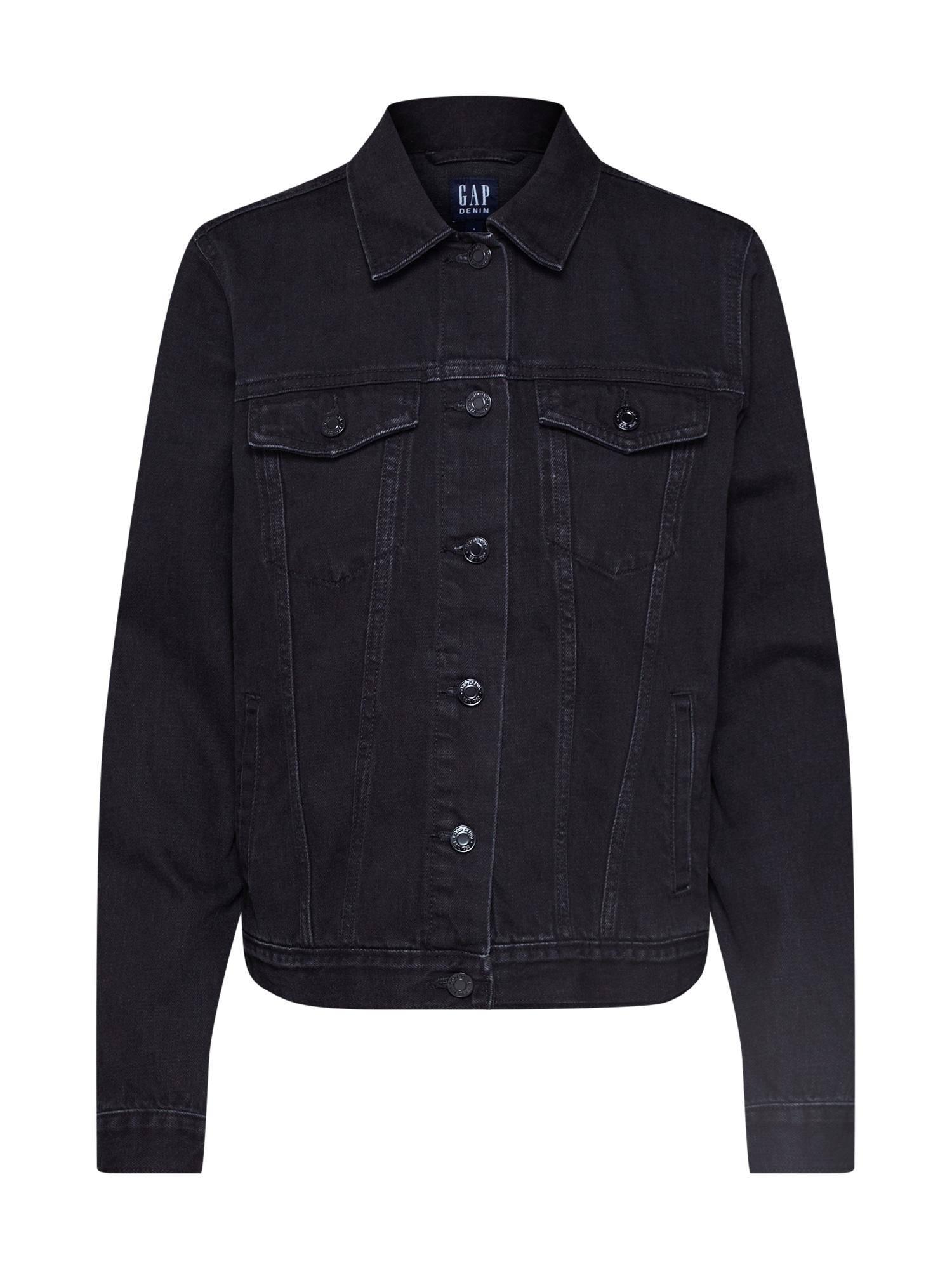 Přechodná bunda ICON JKT - WASHED BLACK černá džínovina GAP
