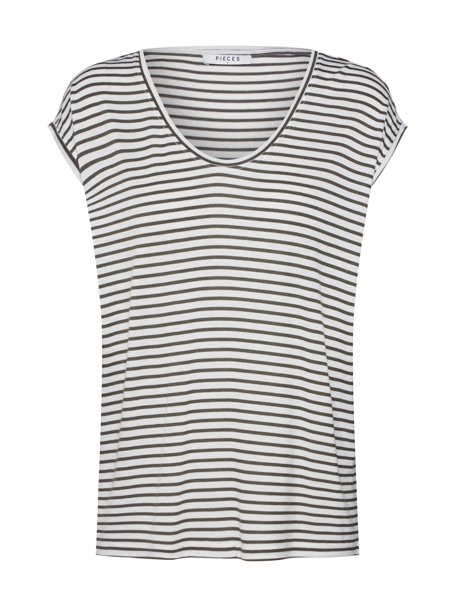 Tričko PCBILLO NEW TEE NOOS zelená bílá PIECES