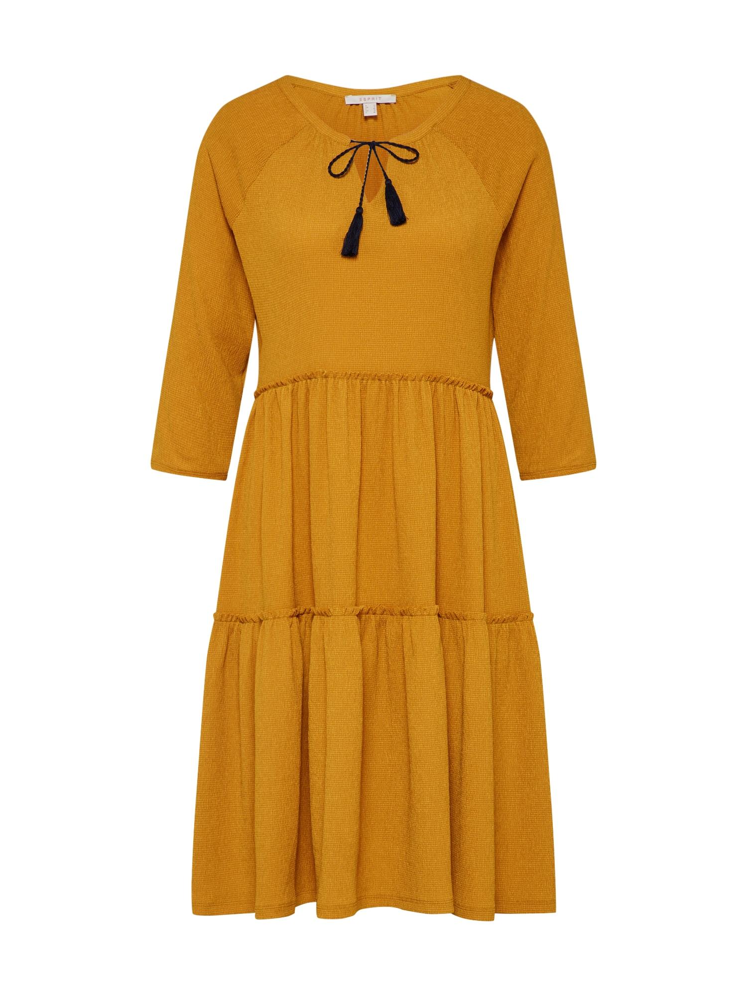 Košilové šaty DJERBA POMPOM zlatě žlutá ESPRIT