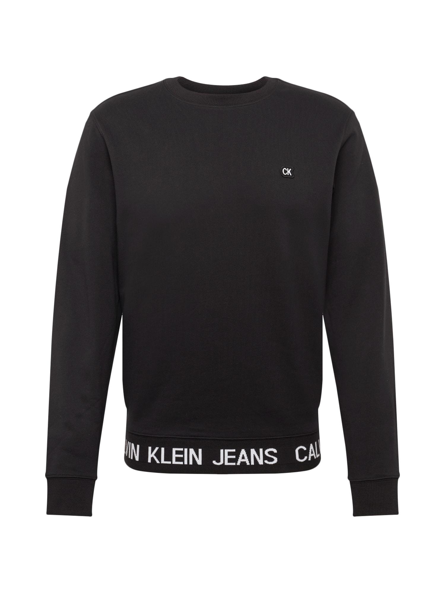 Mikina INSTIT LOGO WAISTBAND CN černá bílá Calvin Klein Jeans