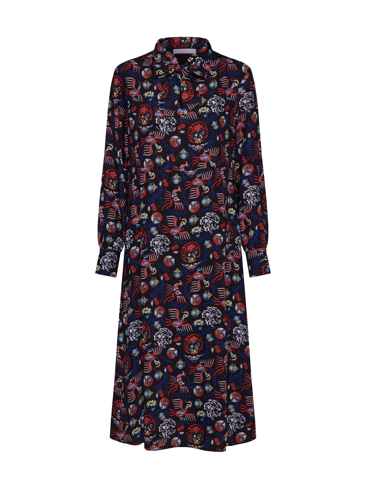 Košilové šaty Posalice tmavě modrá červená černá přírodní bílá POSTYR